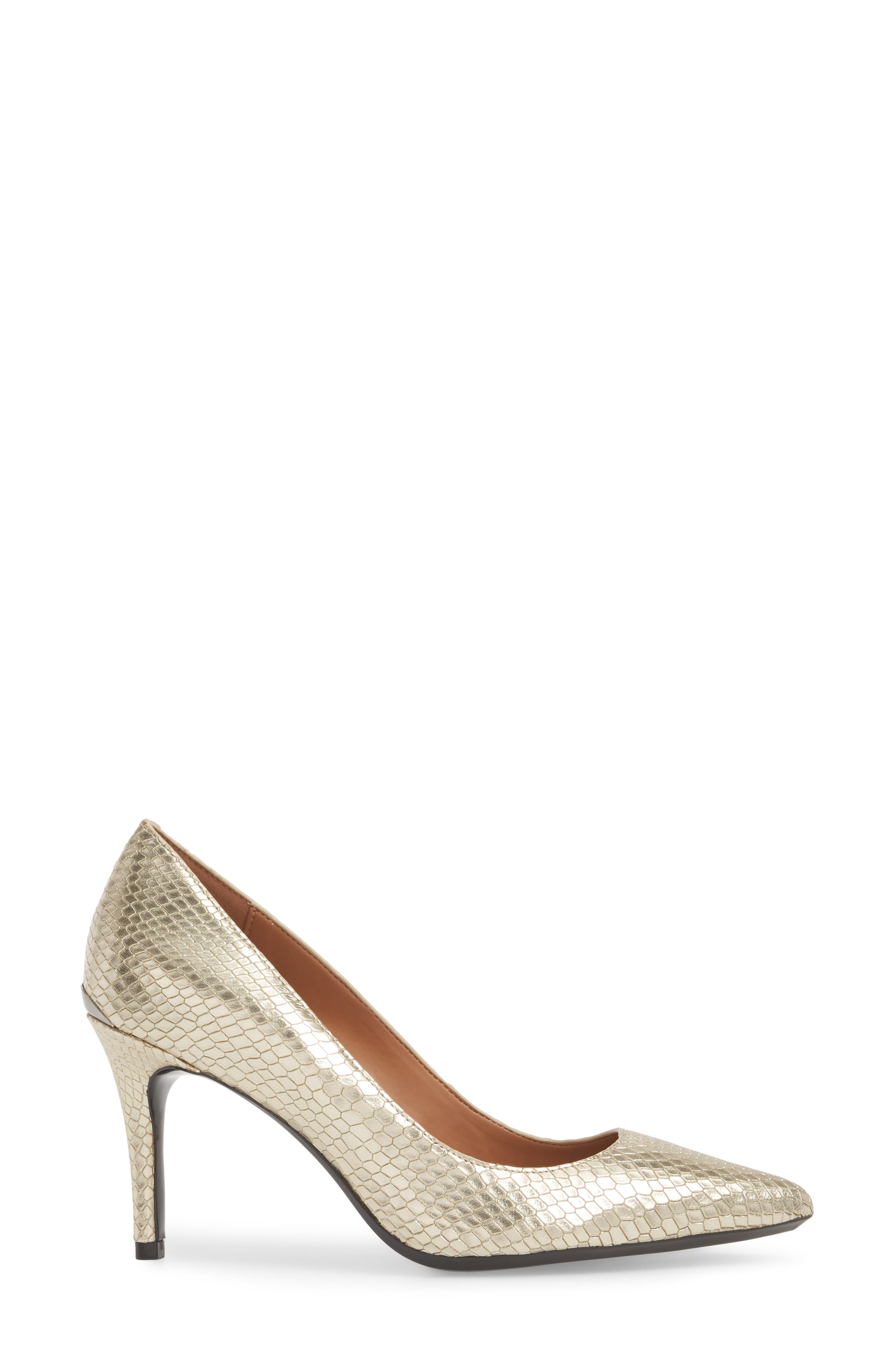 CALVIN KLEIN, 'Gayle' Pointy Toe Pump, Alternate thumbnail 3, color, SOFT GOLD LEATHER