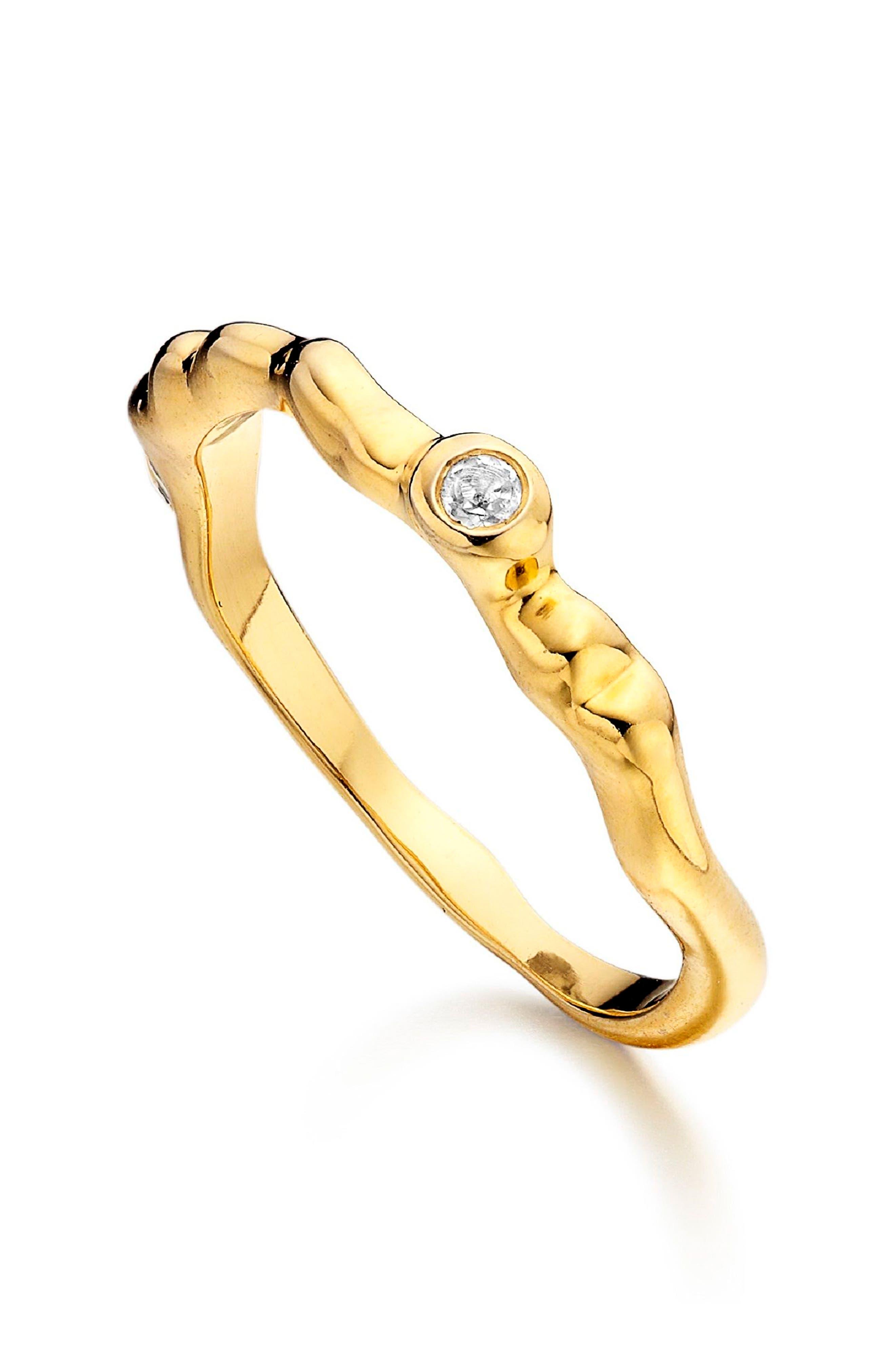 MONICA VINADER Siren Band Ring, Main, color, GOLD/ WHITE TOPAZ