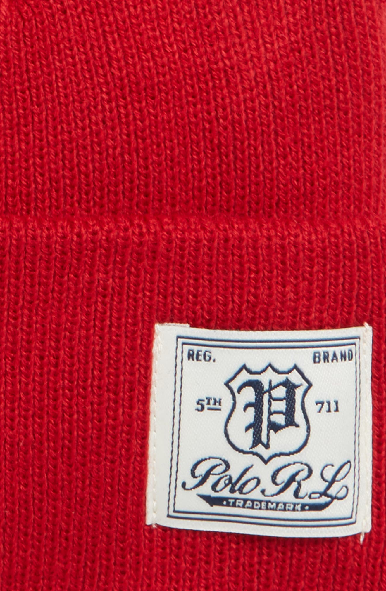 POLO RALPH LAUREN, Everyday Watch Beanie, Alternate thumbnail 2, color, PARK AVE RED