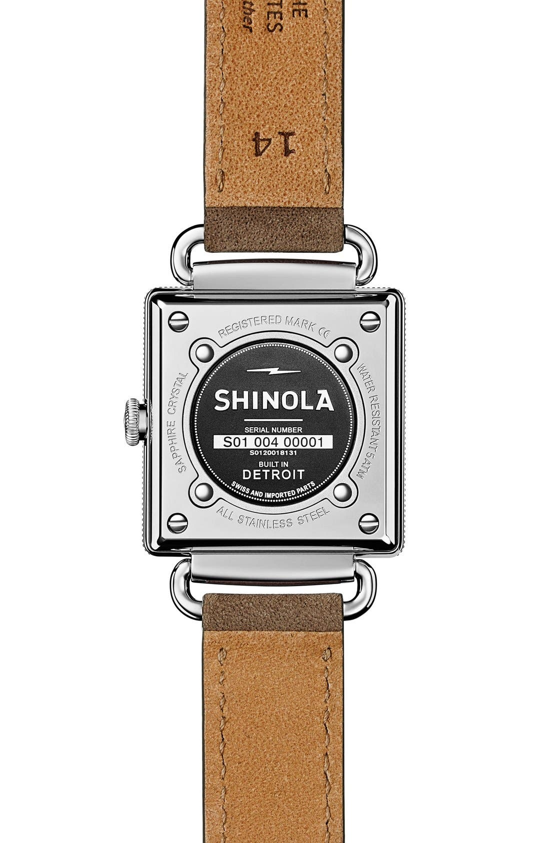 SHINOLA, Cass Leather Strap Watch, 28mm, Alternate thumbnail 4, color, GREY/ NAVY MOTHER OF PEARL
