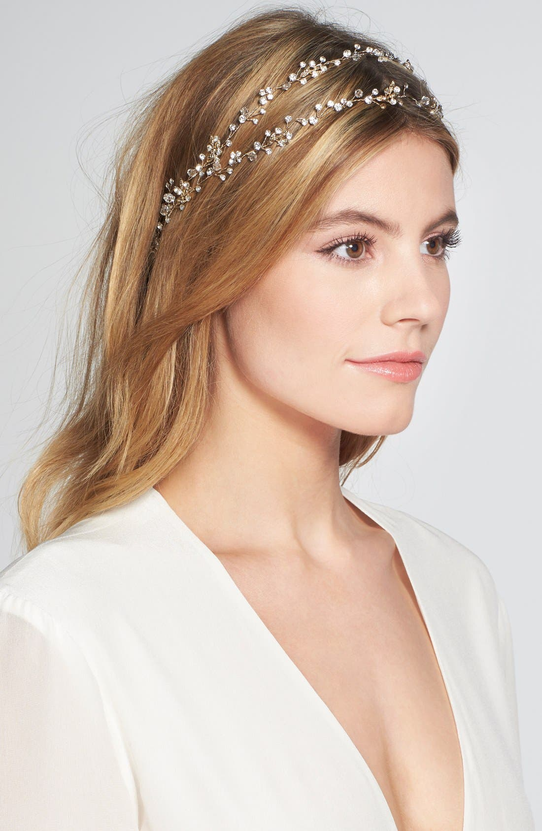 BRIDES & HAIRPINS 'Gia' Double Banded Halo Headpiece, Main, color, 14 K GOLD
