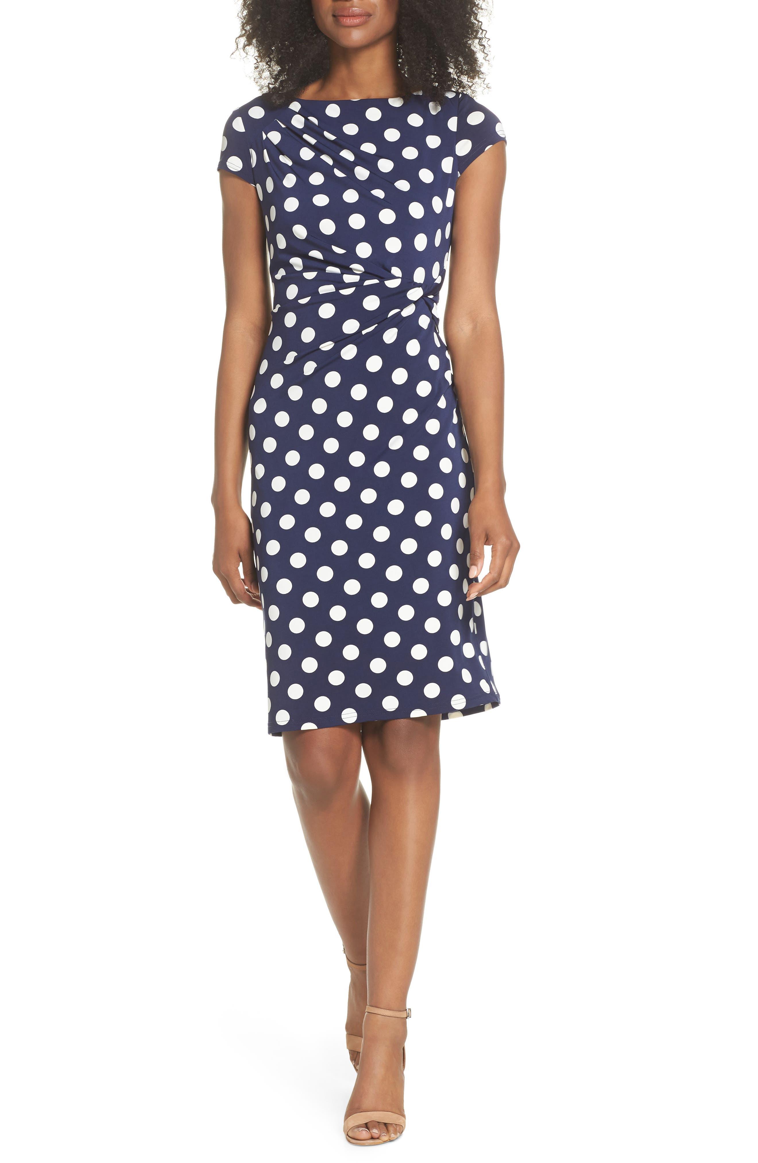 ELIZA J, Polka Dot Side Twist Sheath Dress, Main thumbnail 1, color, NAVY/ IVORY