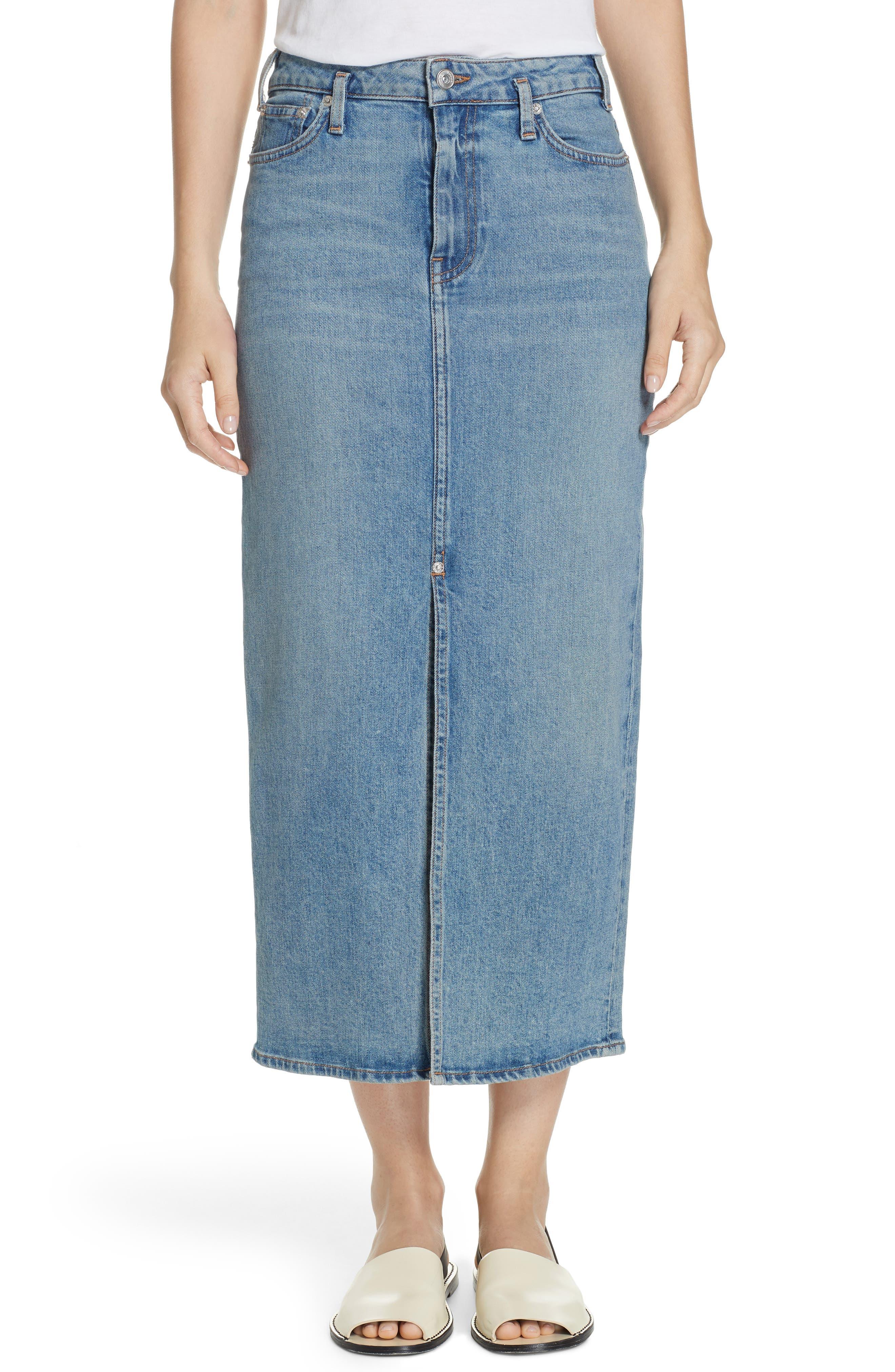 PROENZA SCHOULER, Slit Seam Denim Midi Skirt, Main thumbnail 1, color, CALIFORNIA