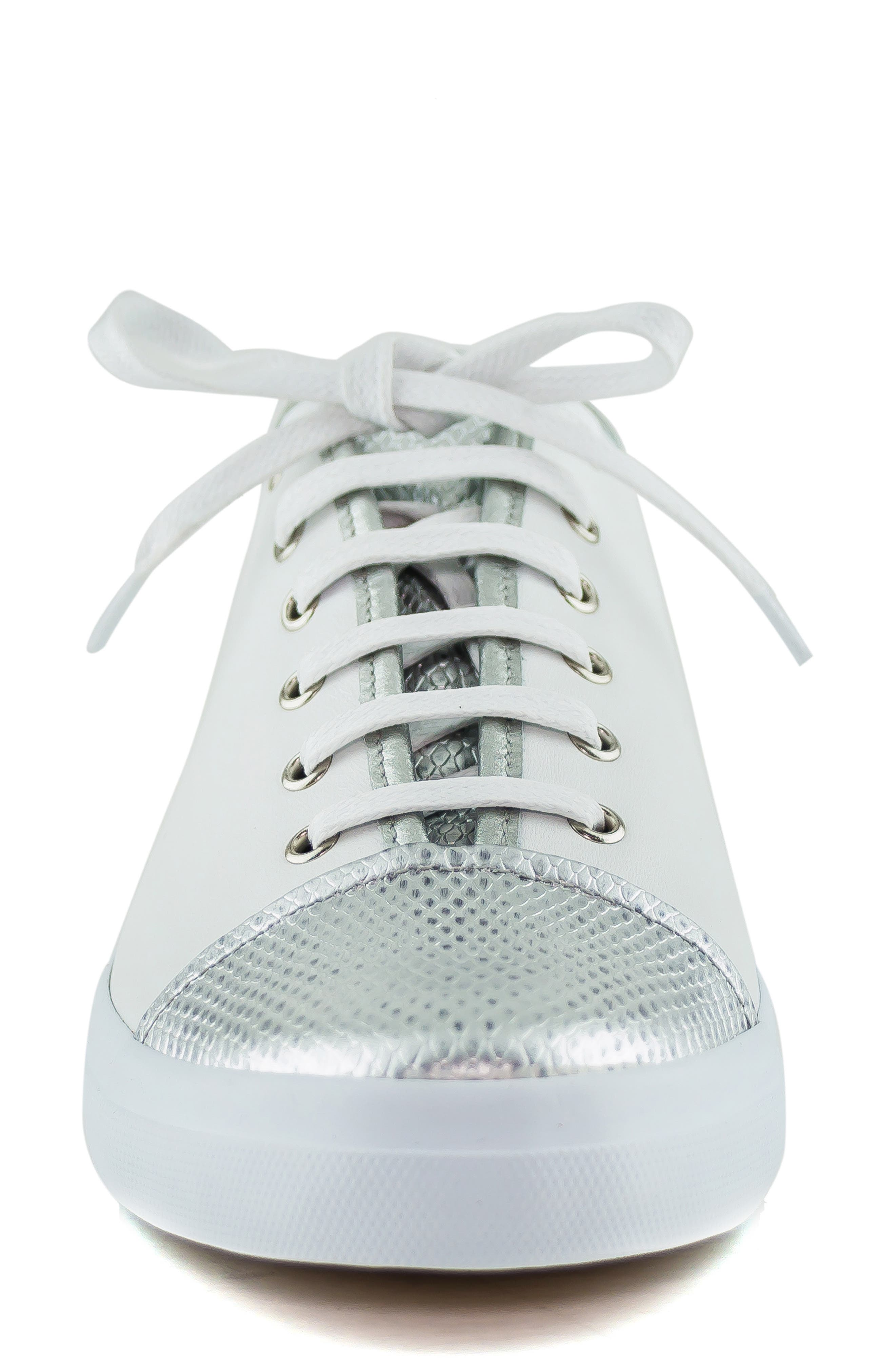 MARC JOSEPH NEW YORK, Bleecker Street Sneaker, Alternate thumbnail 4, color, WHITE/ GIPSY SILVER LEATHER