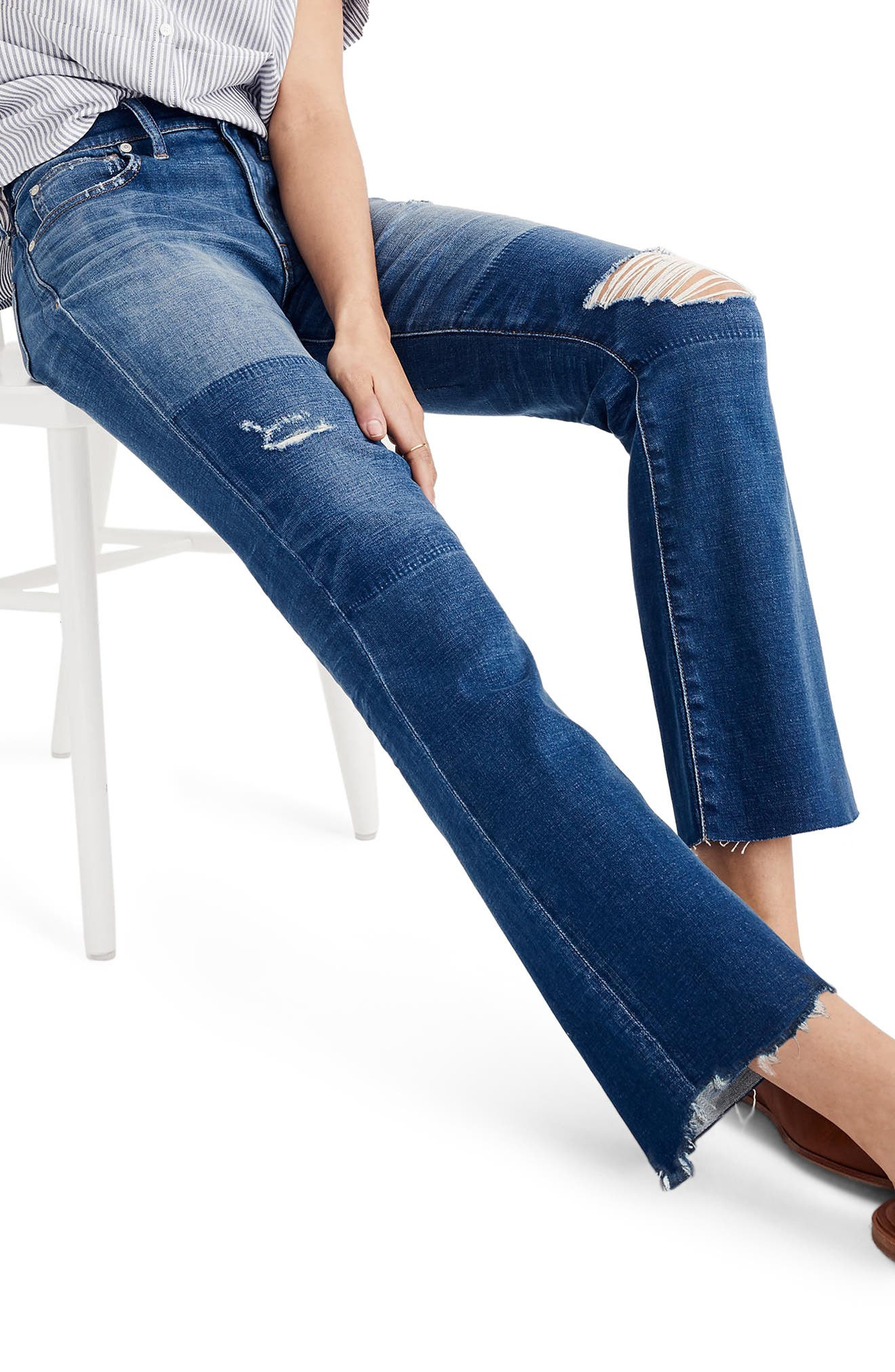 MADEWELL, Cali Ripped Demi Bootleg Crop Jeans, Alternate thumbnail 3, color, 400