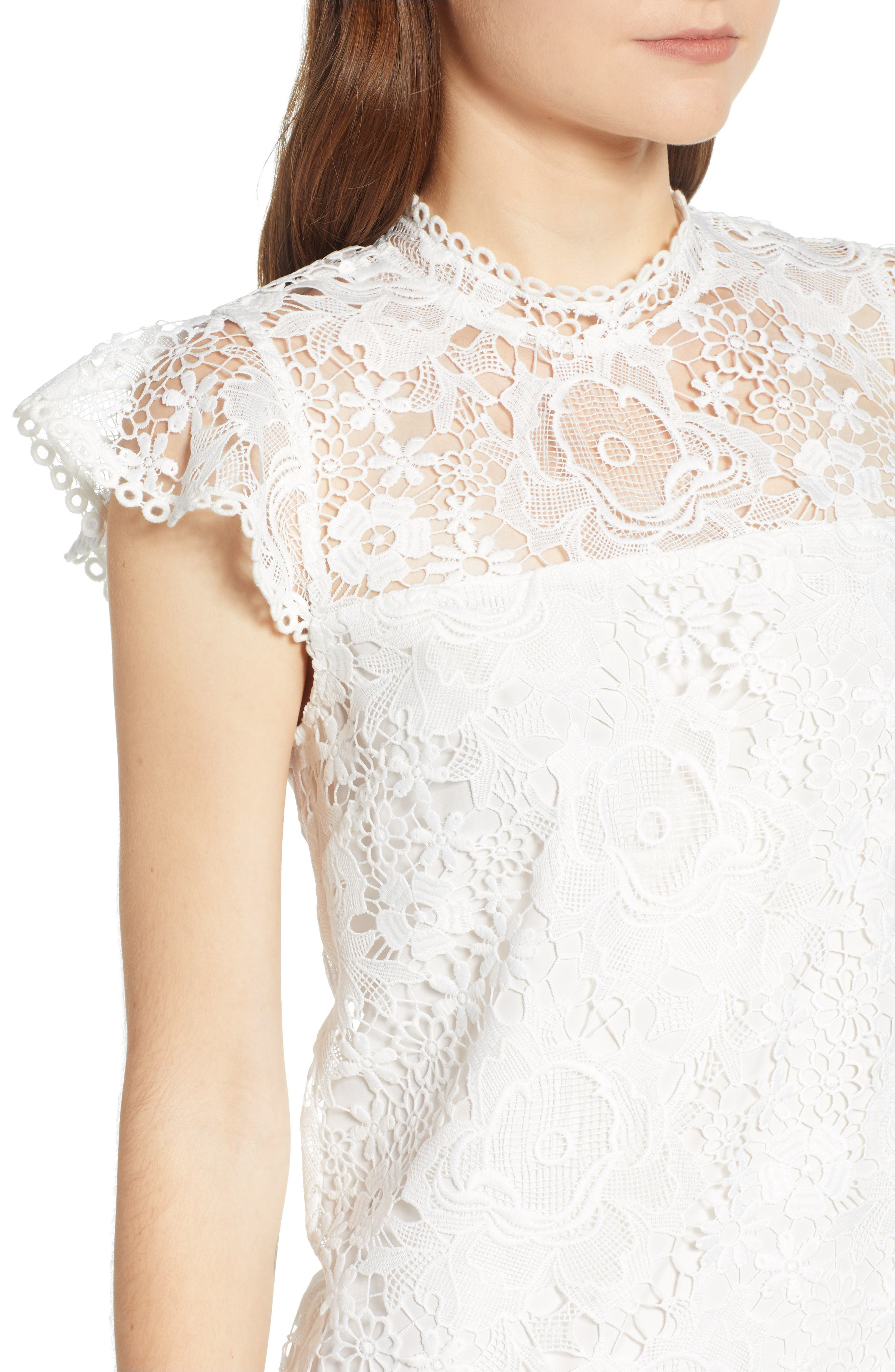CUPCAKES AND CASHMERE, Floral Lace Shift Dress, Alternate thumbnail 5, color, WHITE