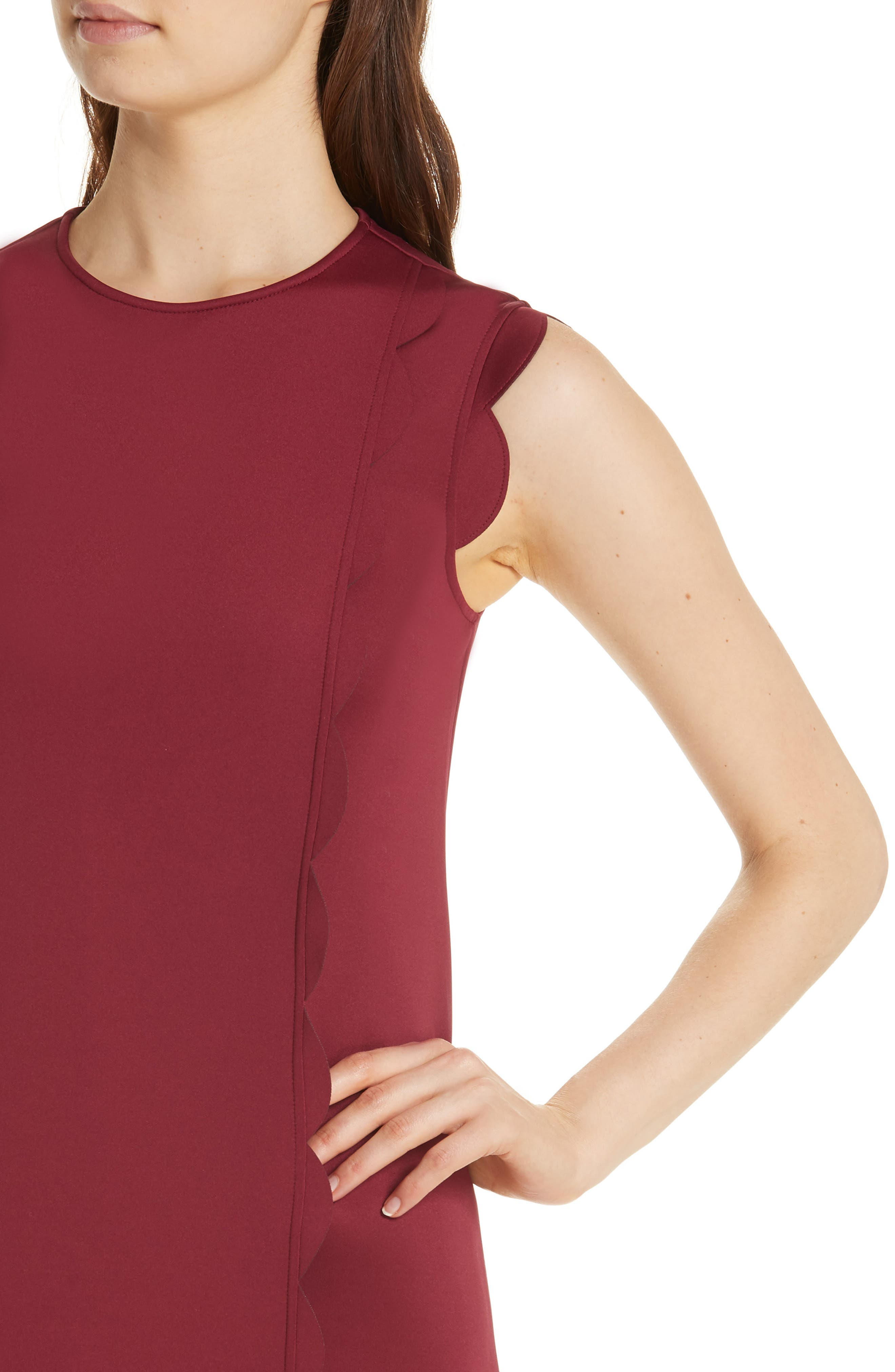 TED BAKER LONDON, Jasmint Scallop Overlay Dress, Alternate thumbnail 5, color, MAROON
