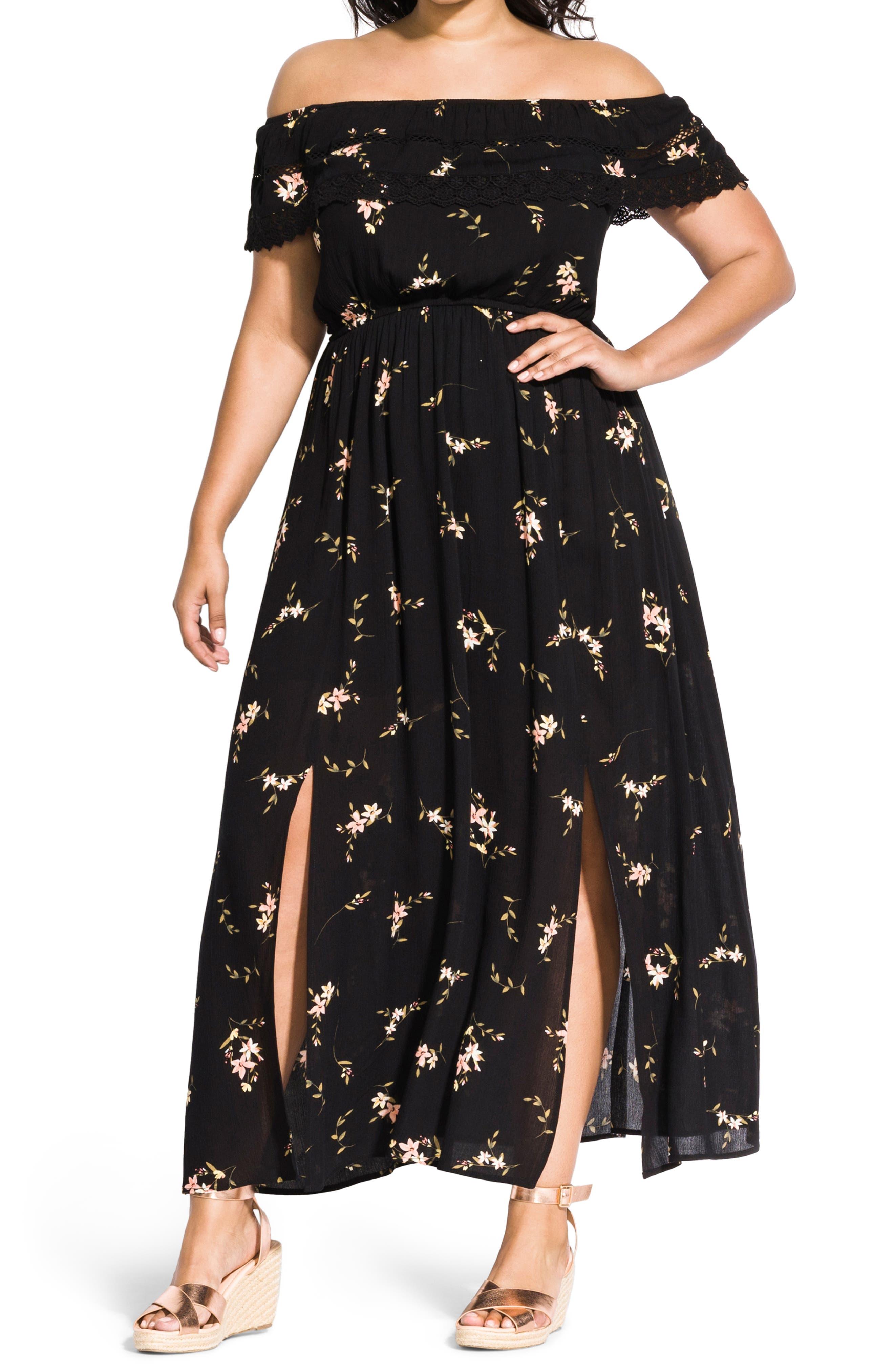 CITY CHIC Off the Shoulder Floral Maxi Dress, Main, color, AERIAL FLORAL