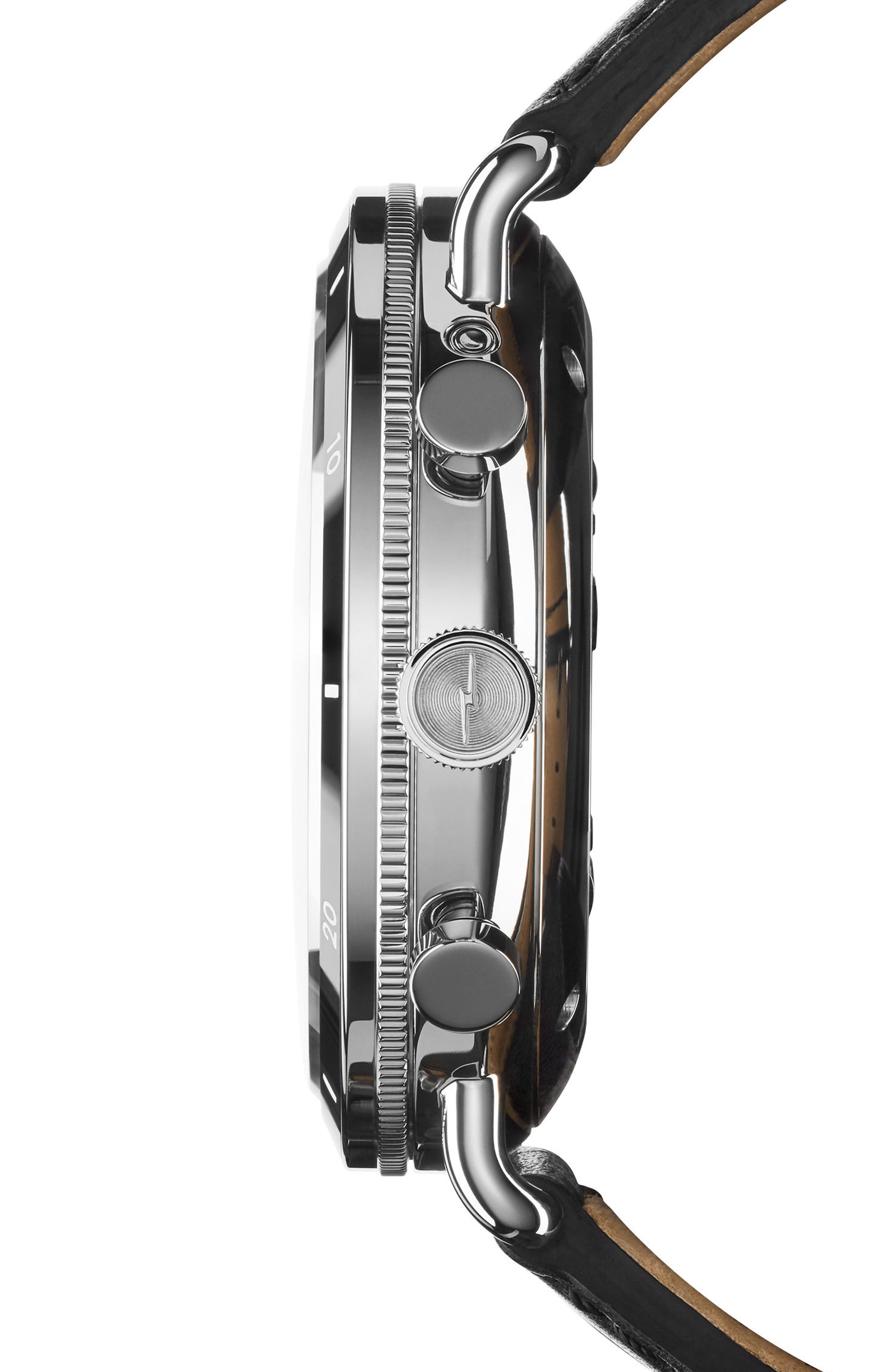 SHINOLA, The Canfield Chrono Leather Strap Watch, 45mm, Alternate thumbnail 3, color, BLACK/ SILVER