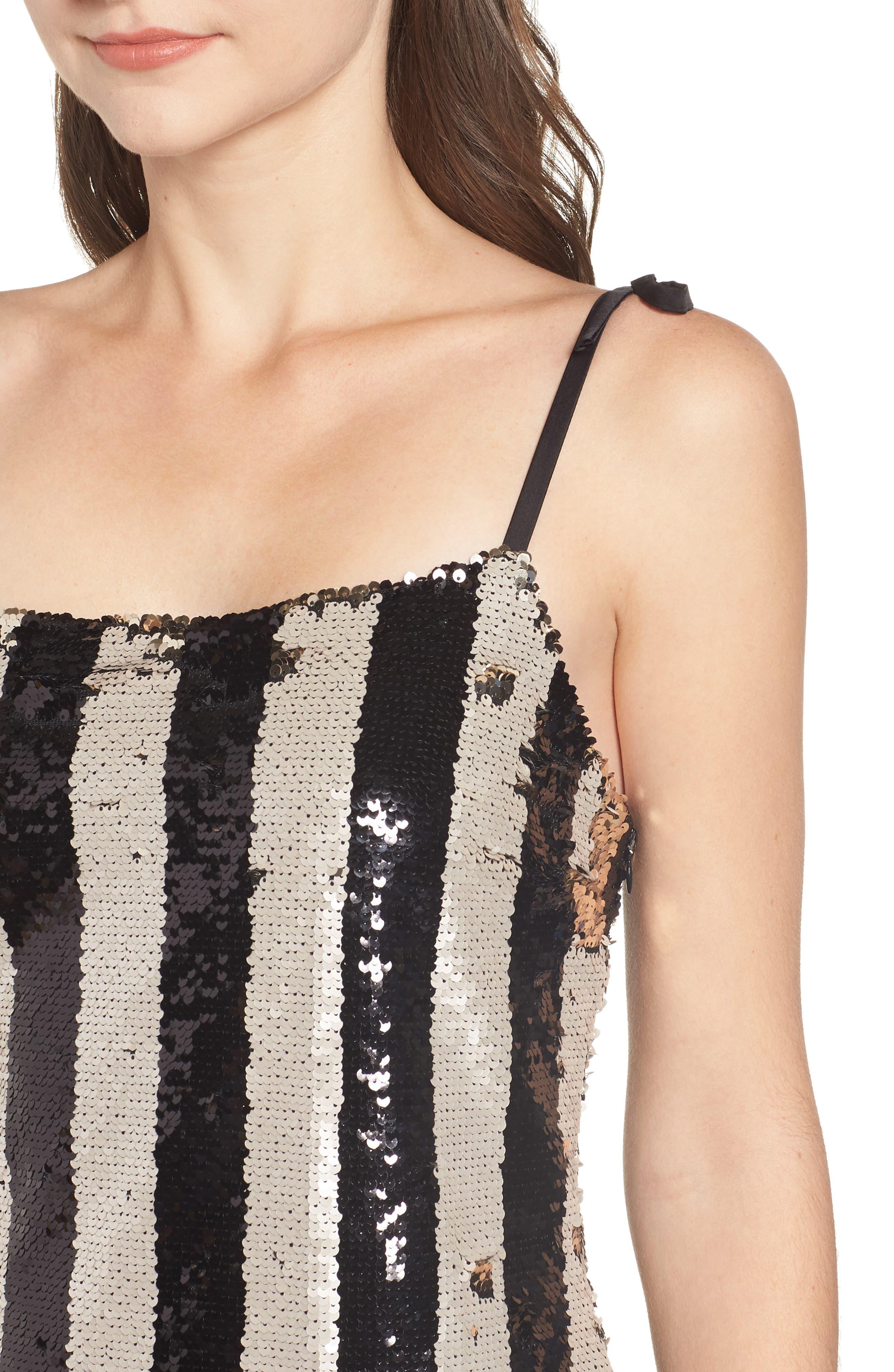 CUPCAKES AND CASHMERE, Vertical Sequin Stripe Dress, Alternate thumbnail 5, color, BLACK