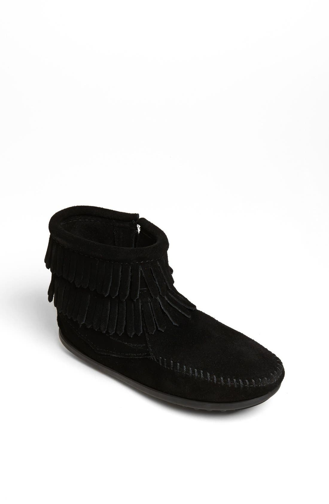MINNETONKA, 'Double Fringe' Boot, Main thumbnail 1, color, BLACK