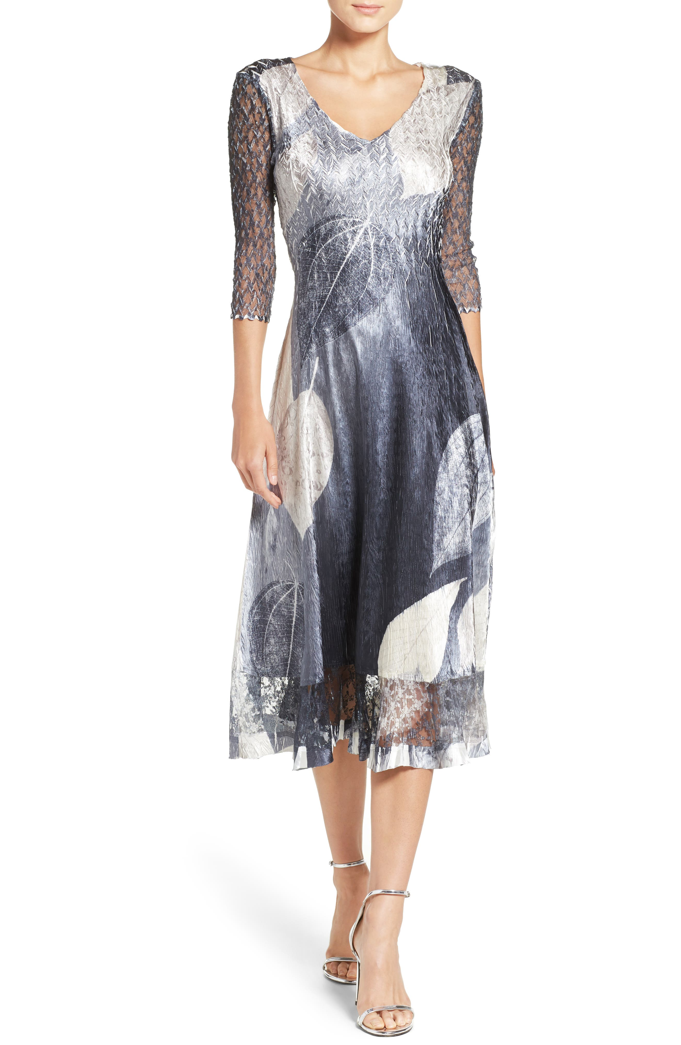 KOMAROV Charmeuse & Lace A-Line Dress, Main, color, BLACK MONET LEAVES