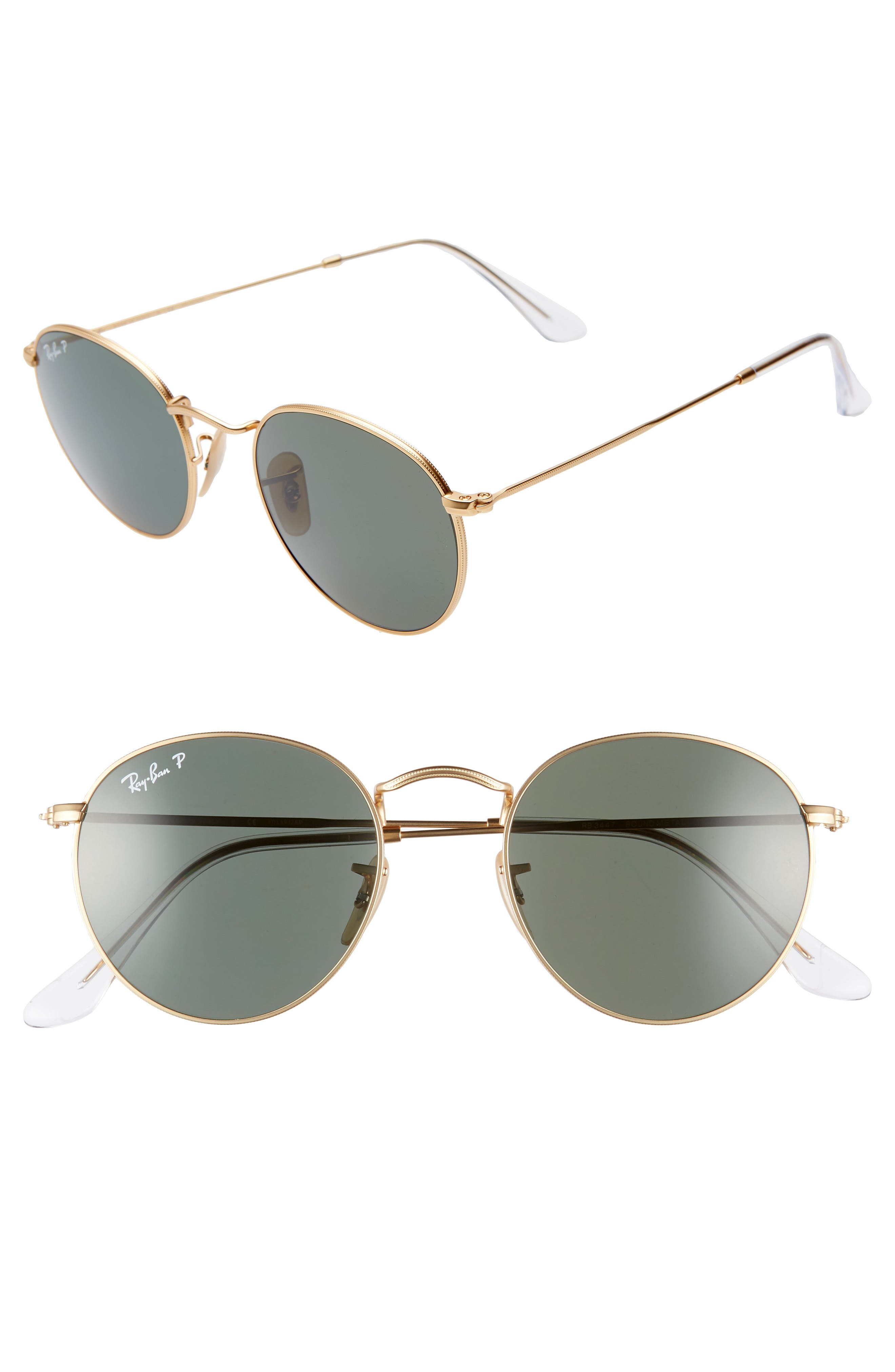 RAY-BAN, 50mm Polarized Round Sunglasses, Main thumbnail 1, color, 710