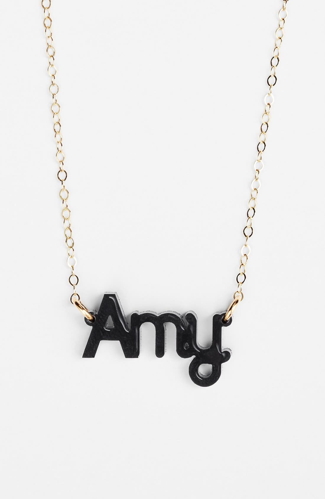MOON AND LOLA, 'Zebra Block Font' Personalized Nameplate Pendant Necklace, Main thumbnail 1, color, EBONY/ GOLD