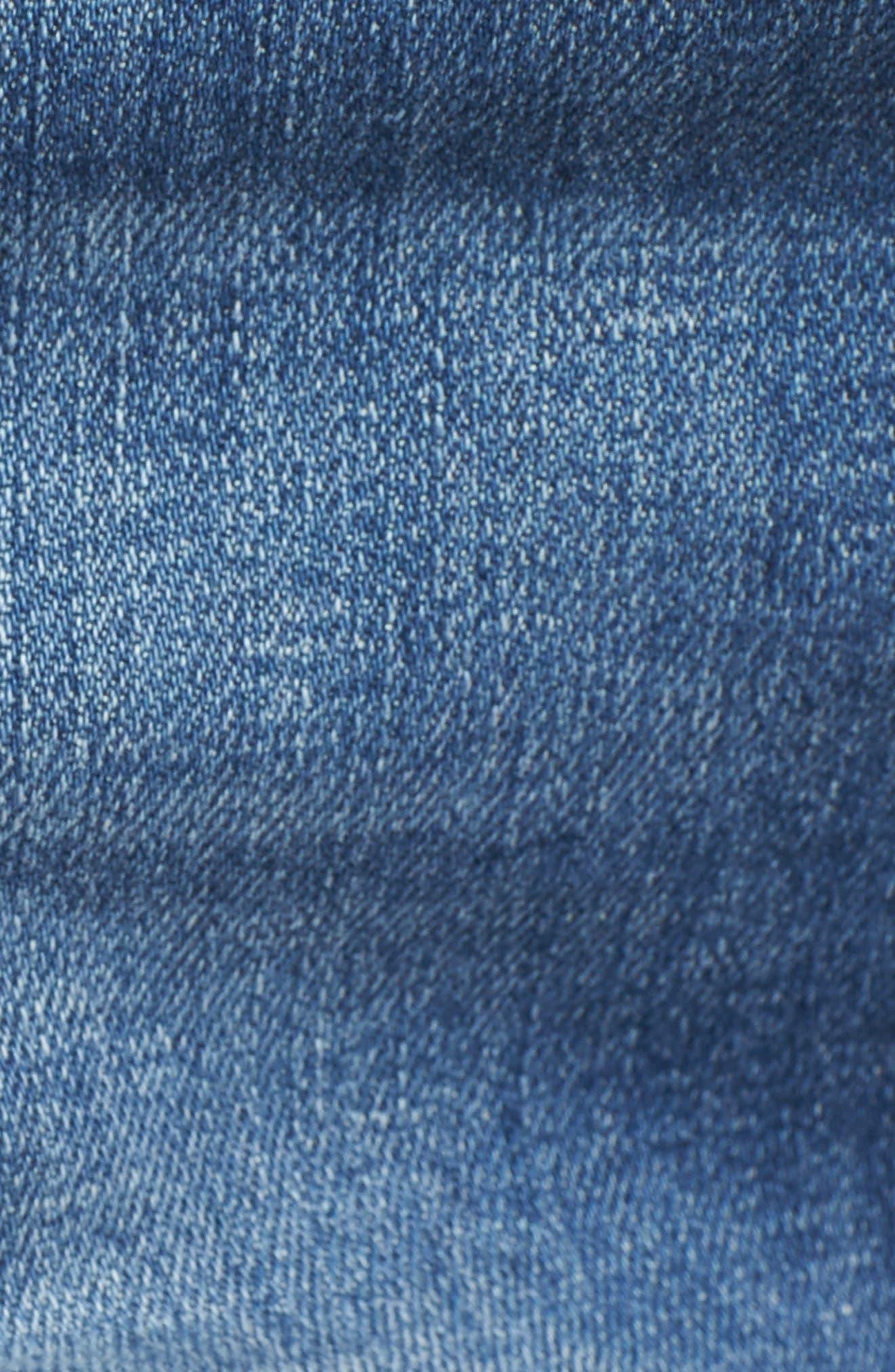 MOTHER, The Rascal Slit Flip Denim Shorts, Alternate thumbnail 6, color, ONE SMART COOKIE