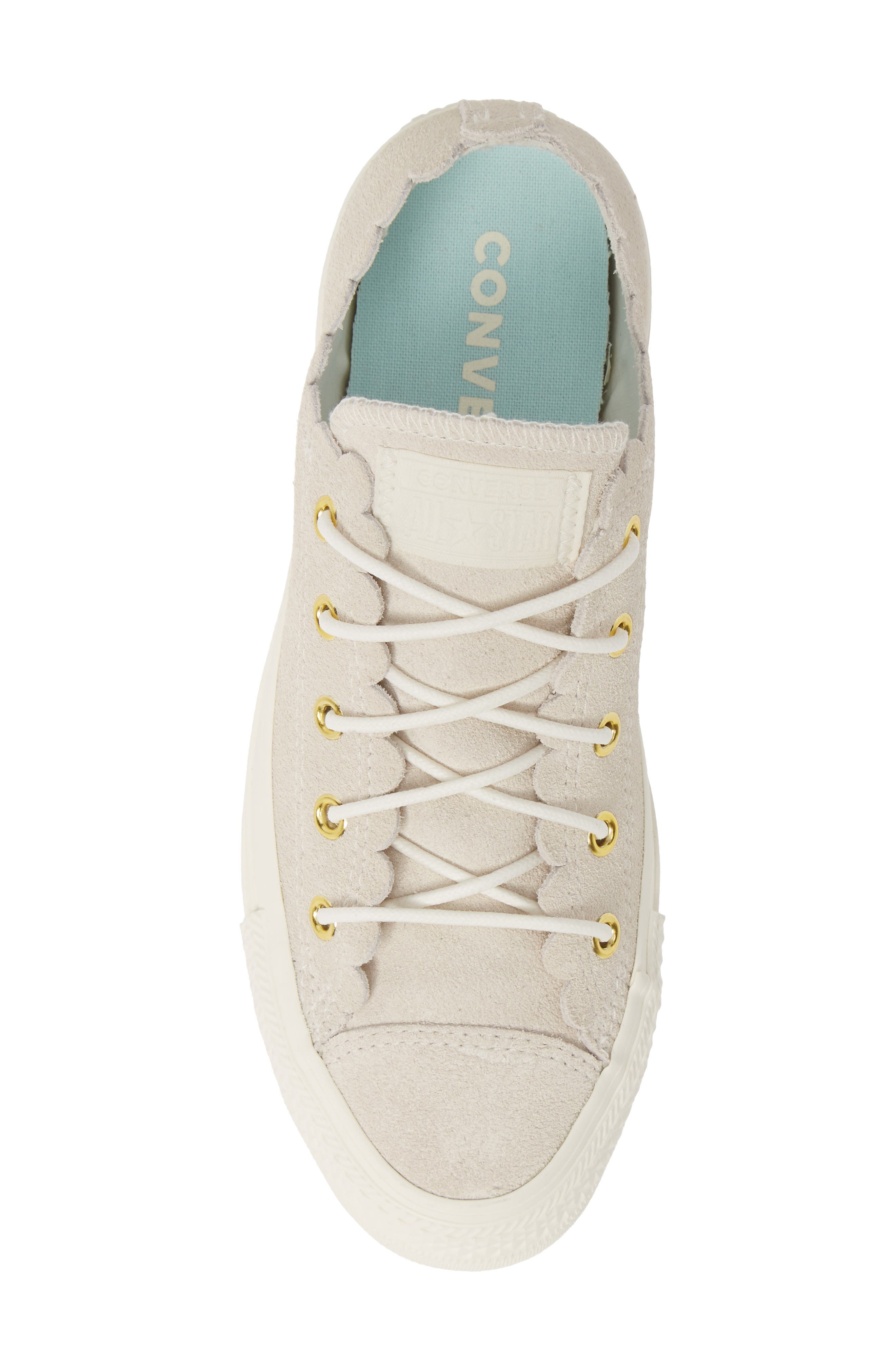 CONVERSE, Chuck Taylor<sup>®</sup> All Star<sup>®</sup> Scallop Low Top Leather Sneaker, Alternate thumbnail 5, color, EGRET/ GOLD/ EGRET