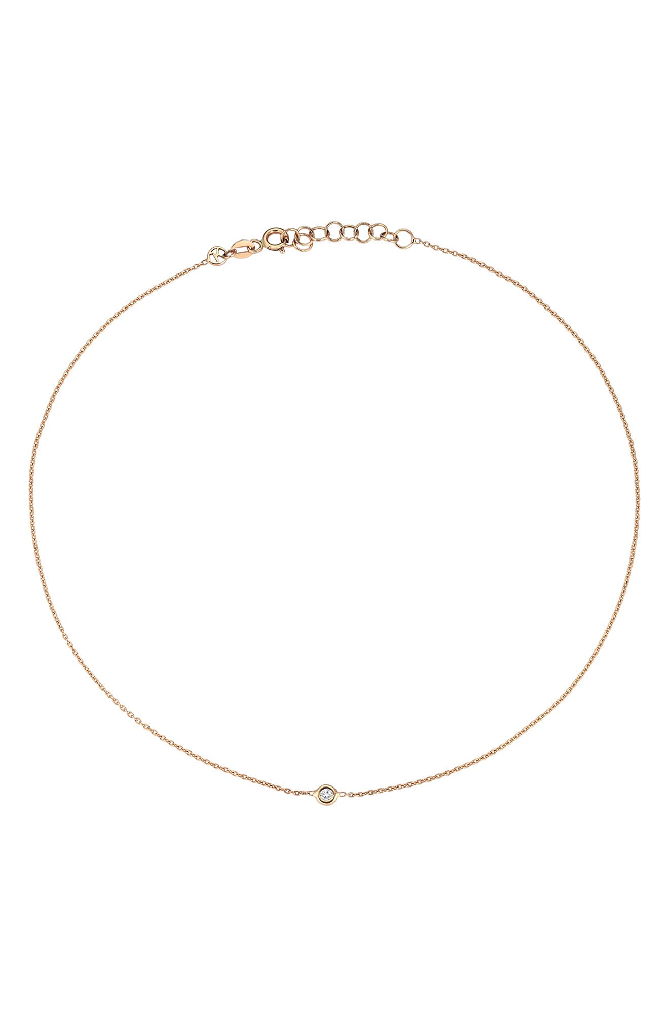 KISMET BY MILKA, Diamond Choker Necklace, Alternate thumbnail 3, color, ROSE GOLD