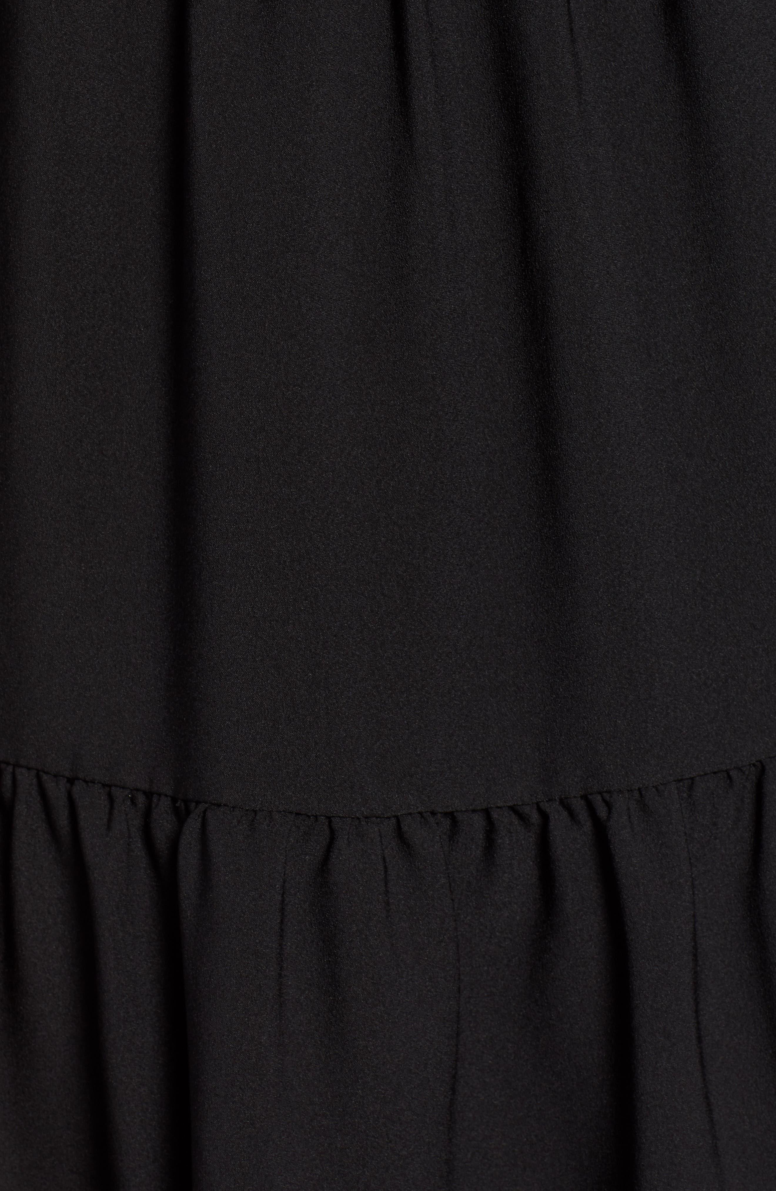 HALOGEN<SUP>®</SUP>, Pintuck Detail Shift Dress, Alternate thumbnail 6, color, BLACK