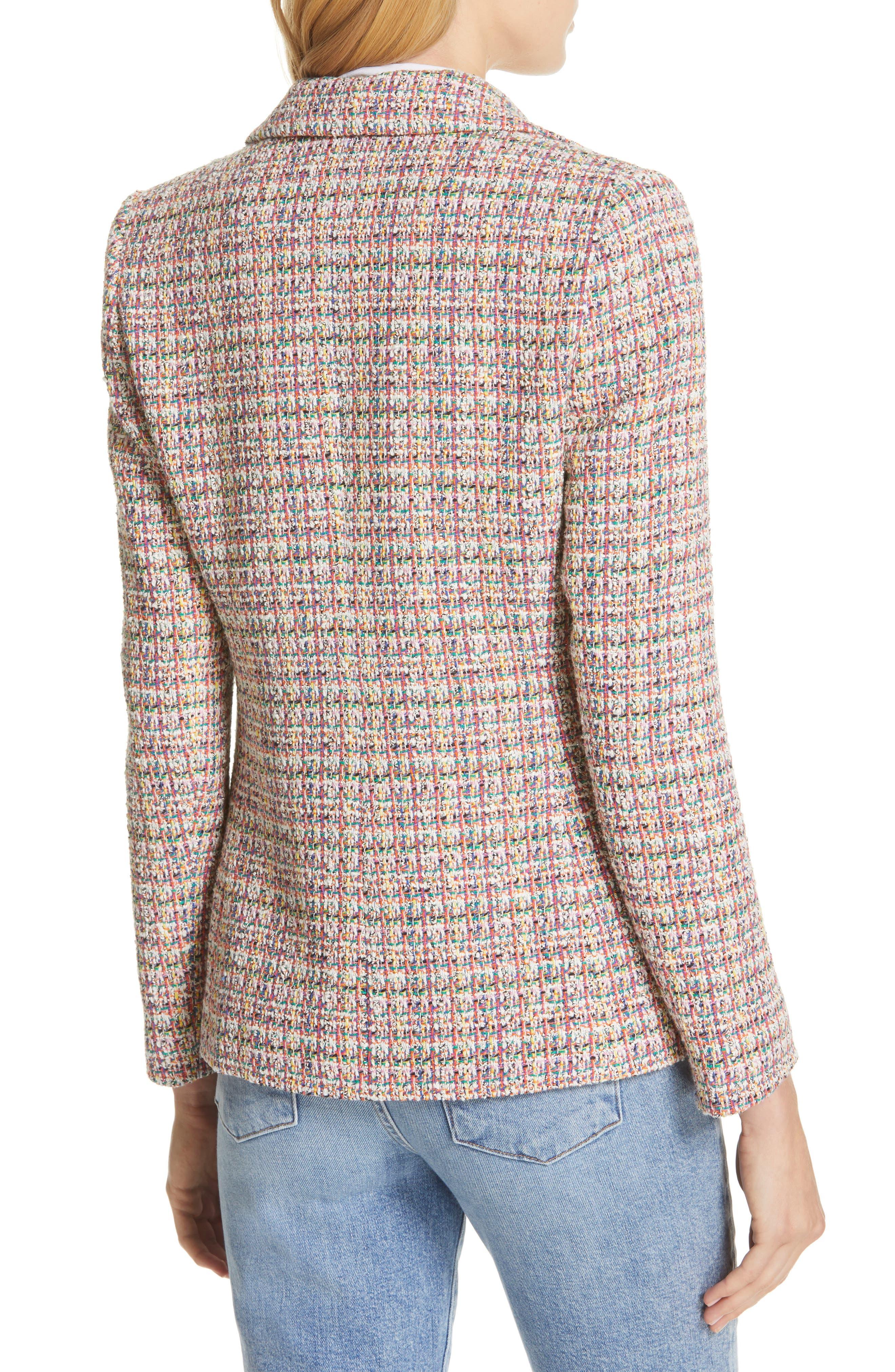 HELENE BERMAN, Colorful Tweed Blazer, Alternate thumbnail 2, color, ORANGE