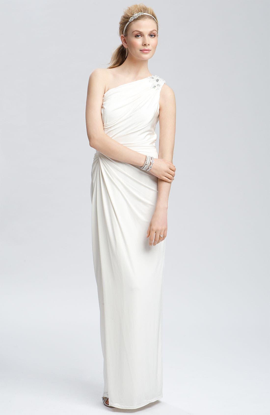 TADASHI SHOJI, Beaded Jersey One Shoulder Gown, Alternate thumbnail 5, color, 900