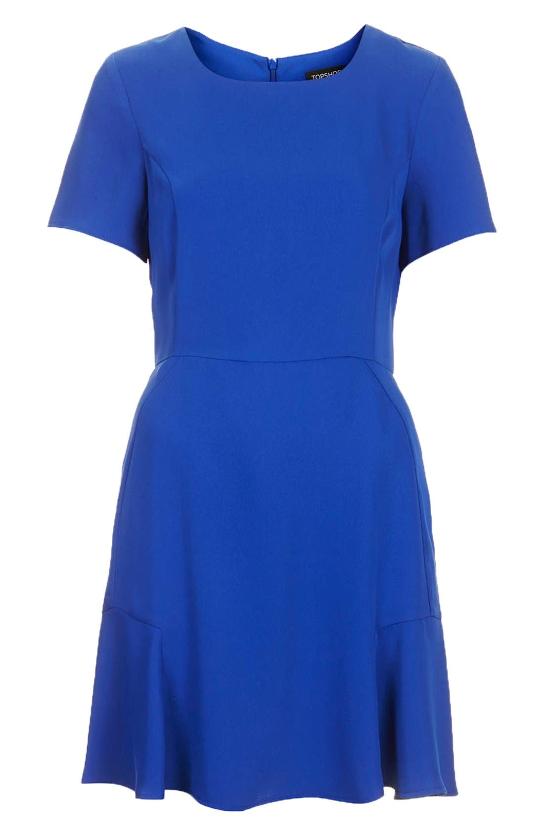 TOPSHOP, Crepe Fit & Flare Dress, Alternate thumbnail 3, color, 430