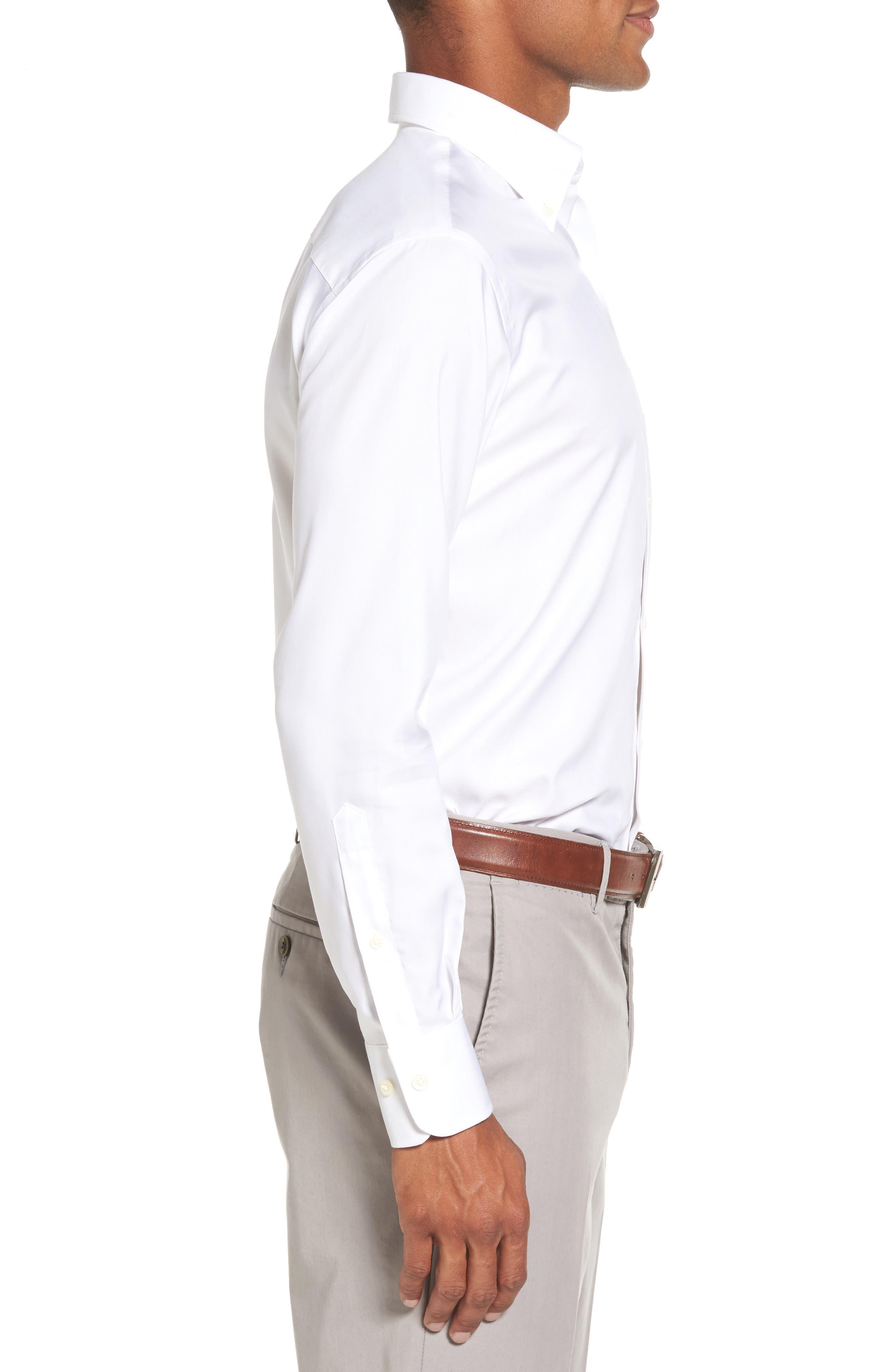 PETER MILLAR, Crown Soft Pinpoint Regular Fit Sport Shirt, Alternate thumbnail 3, color, WHITE