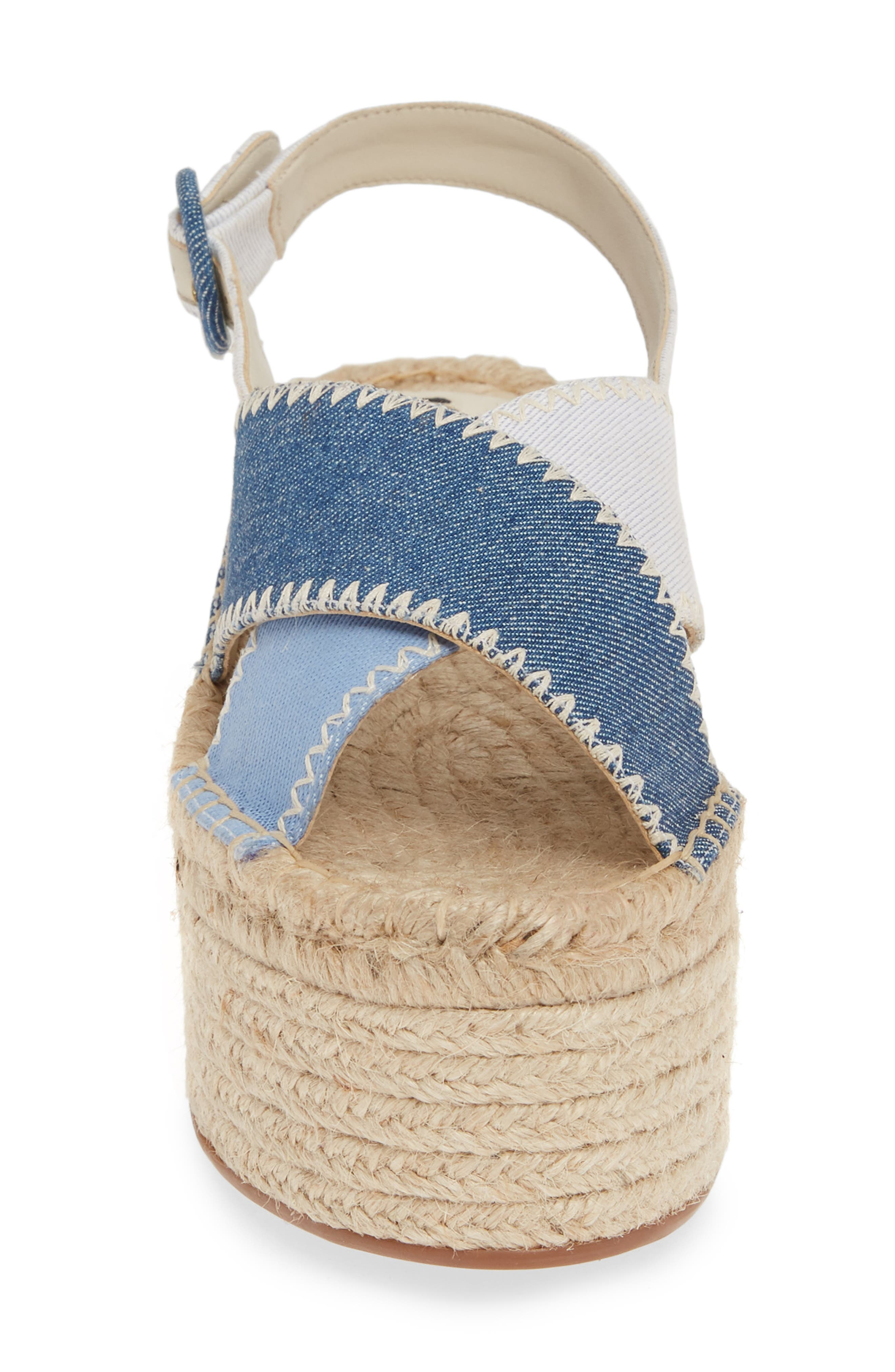 ALICE + OLIVIA, Fayen Platform Sandal, Alternate thumbnail 4, color, DARK BLUE/ LIGHT BLUE/ IVORY
