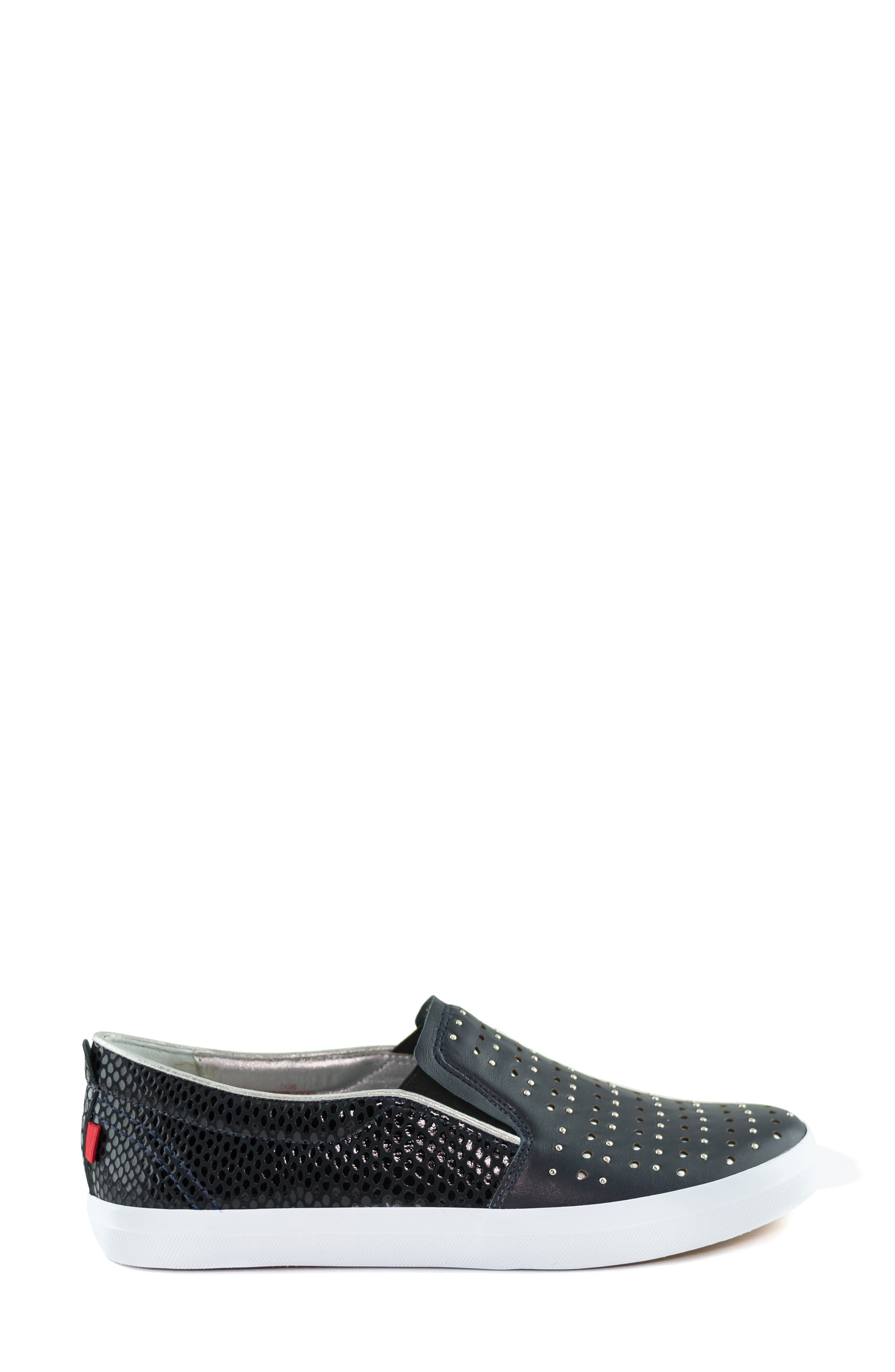 MARC JOSEPH NEW YORK, Soho Sneaker, Alternate thumbnail 3, color, NAVY LEATHER