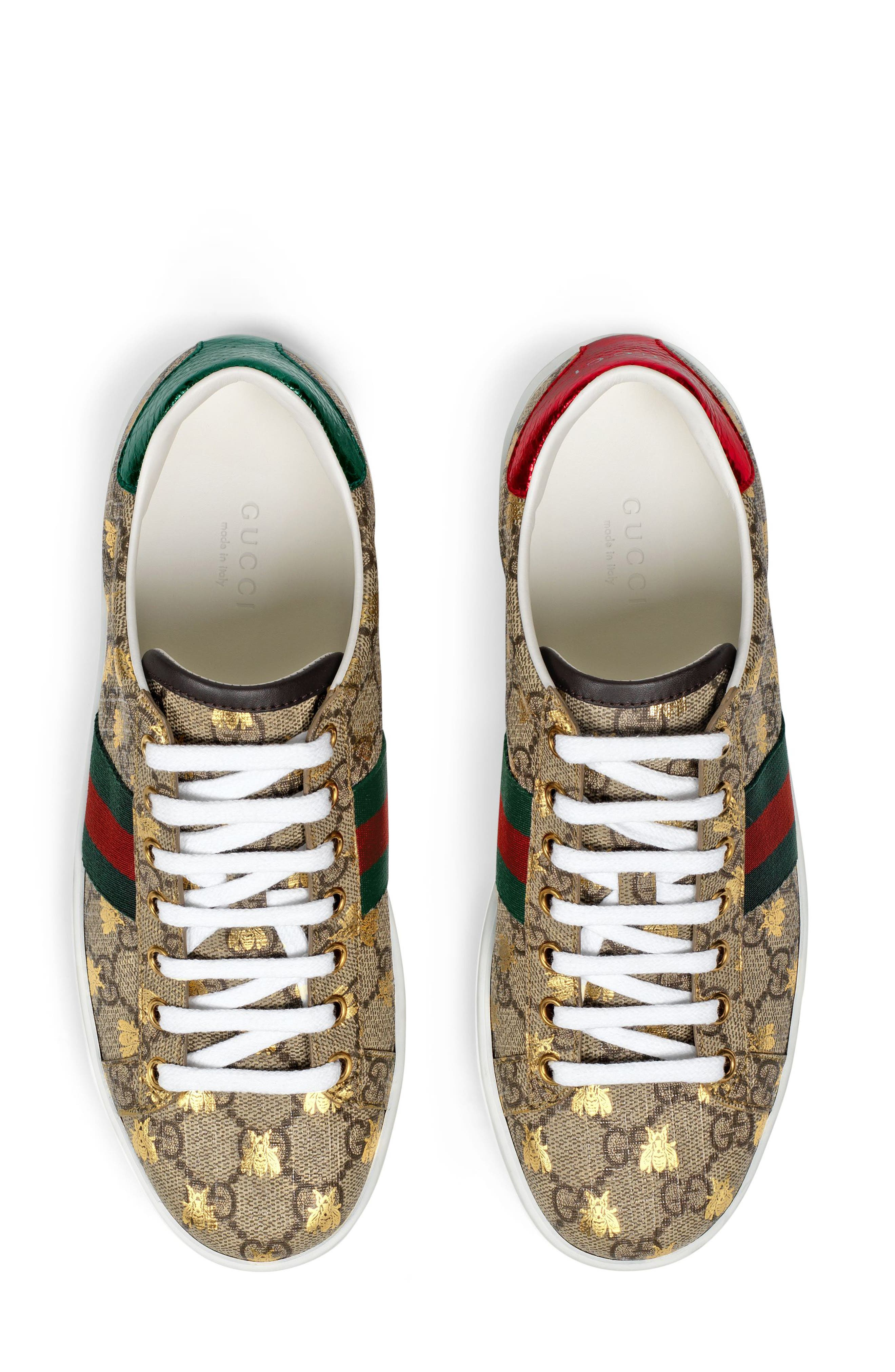 GUCCI, New Ace Monogram Bee Sneaker, Alternate thumbnail 4, color, BEIGE/ GOLD