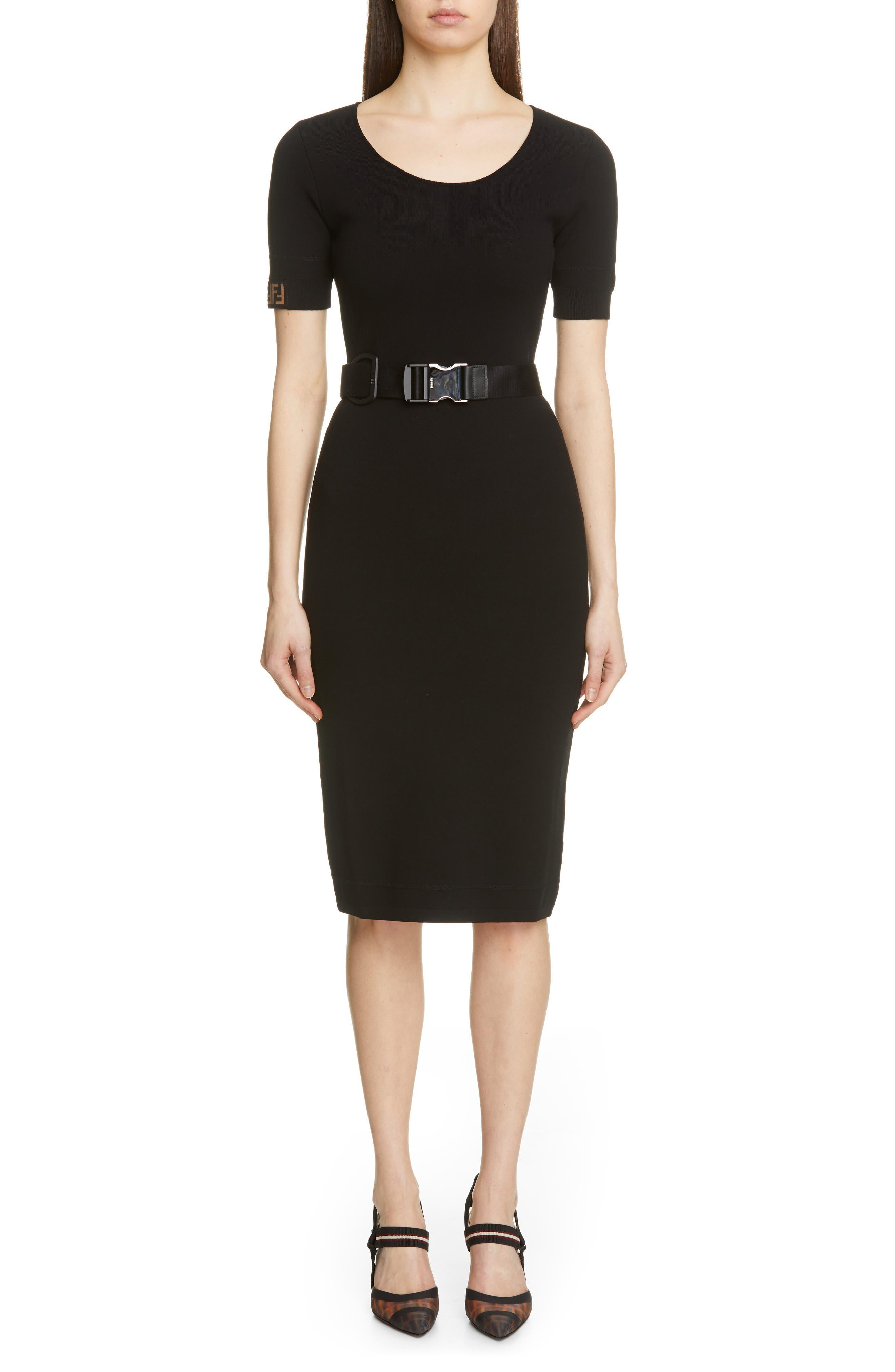 Fendi Belted Logo Dress, 50 IT - Black