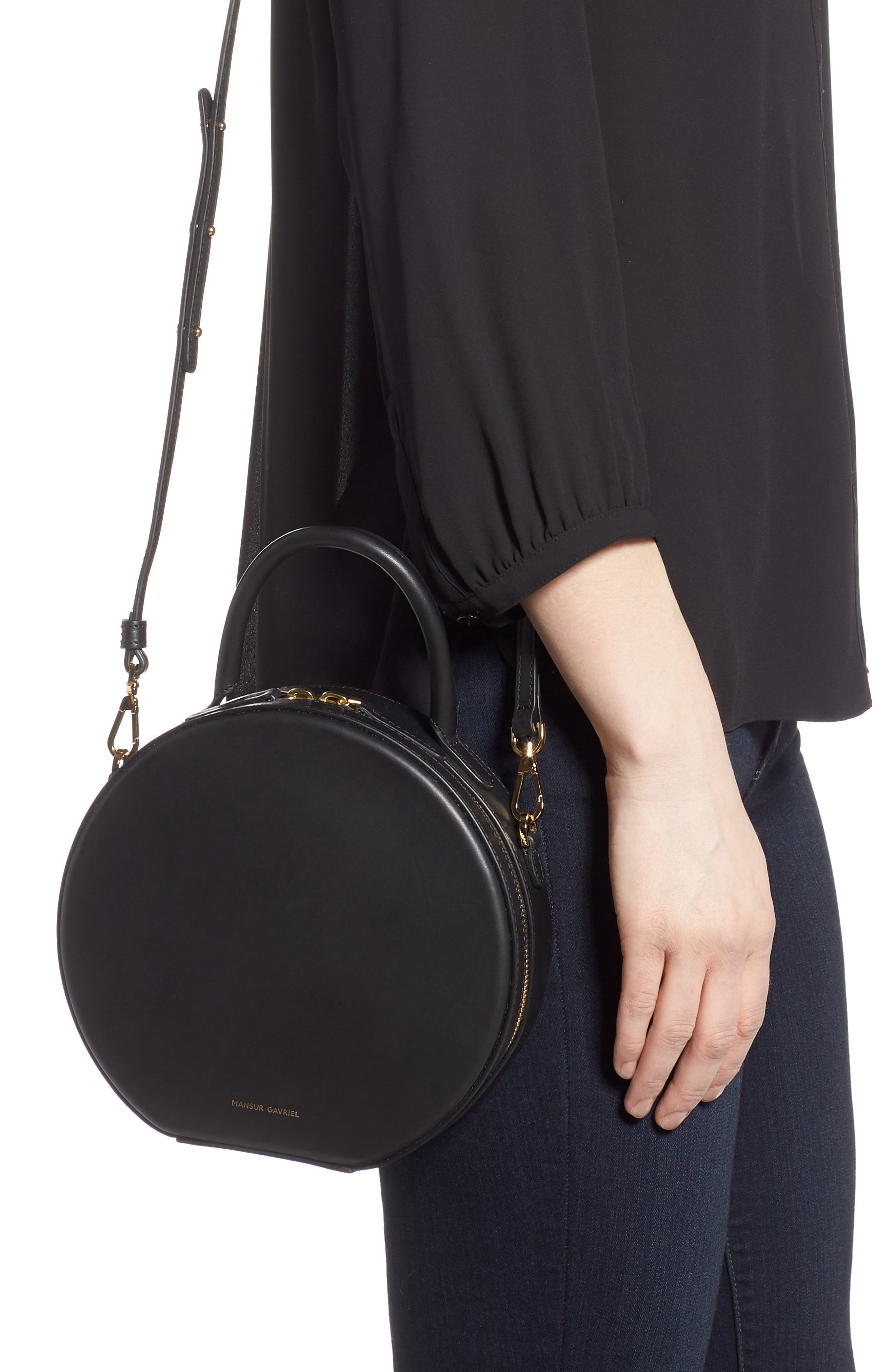 MANSUR GAVRIEL, Leather Circle Crossbody Bag, Alternate thumbnail 2, color, BLACK