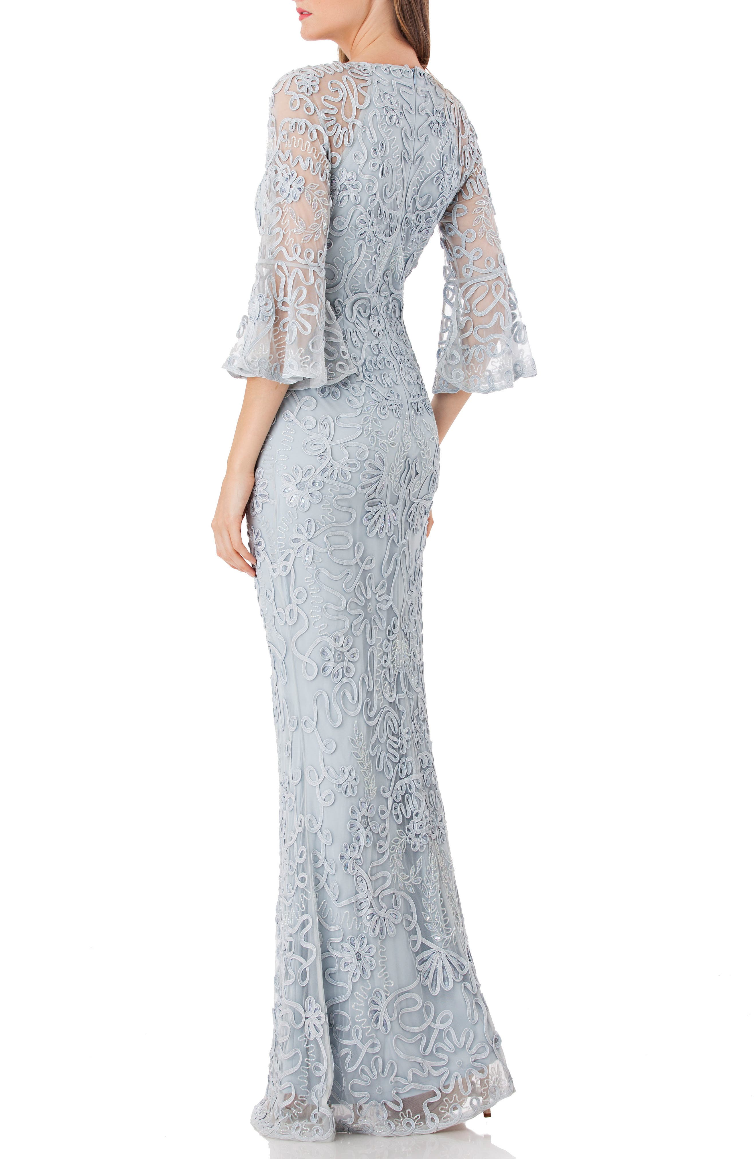 JS COLLECTIONS, Soutache Embroidered Trumpet Gown, Alternate thumbnail 2, color, 415