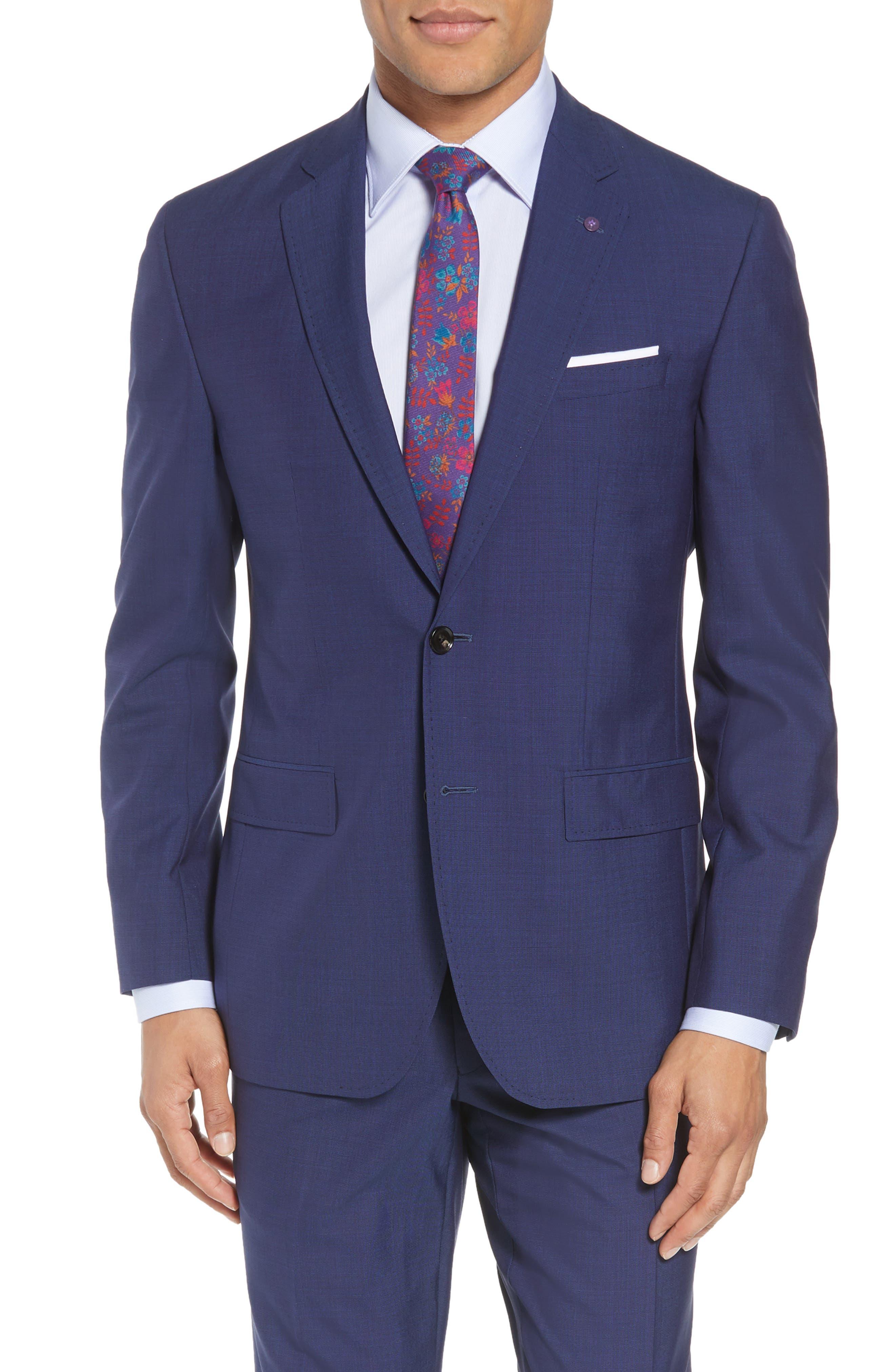 TED BAKER LONDON, Jay Trim Fit Suit, Alternate thumbnail 5, color, BLUE