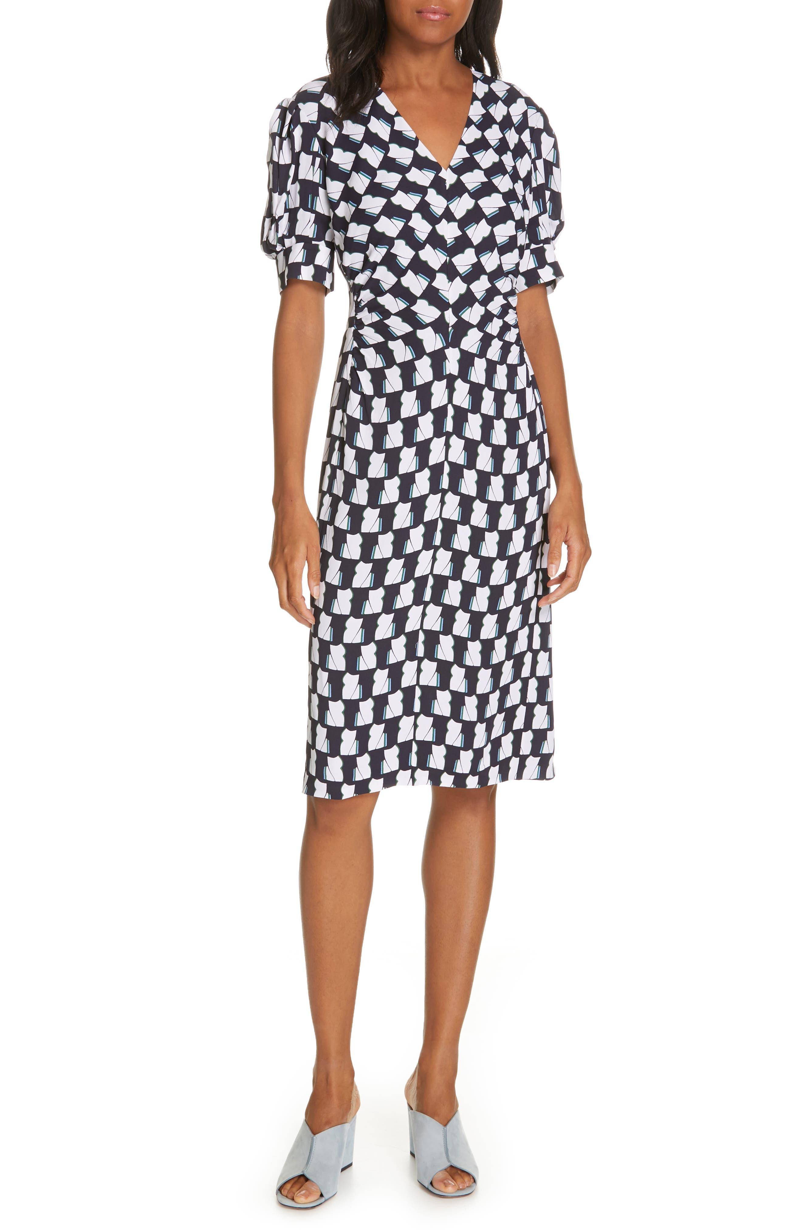 LEWIT, V-Neck Print Crepe Dress, Main thumbnail 1, color, 410