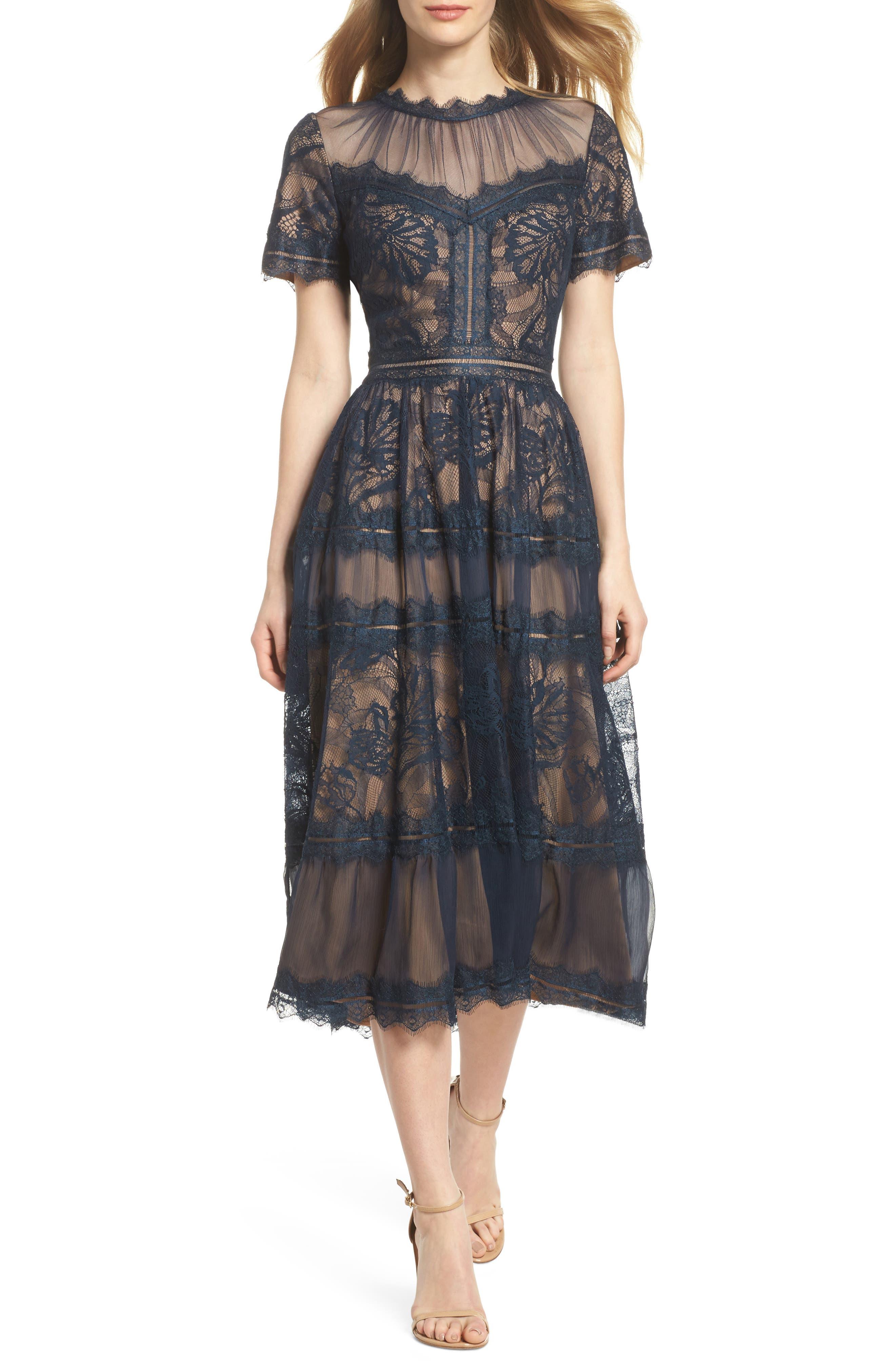 TADASHI SHOJI, Lace Midi Dress, Main thumbnail 1, color, NAVY/ NUDE