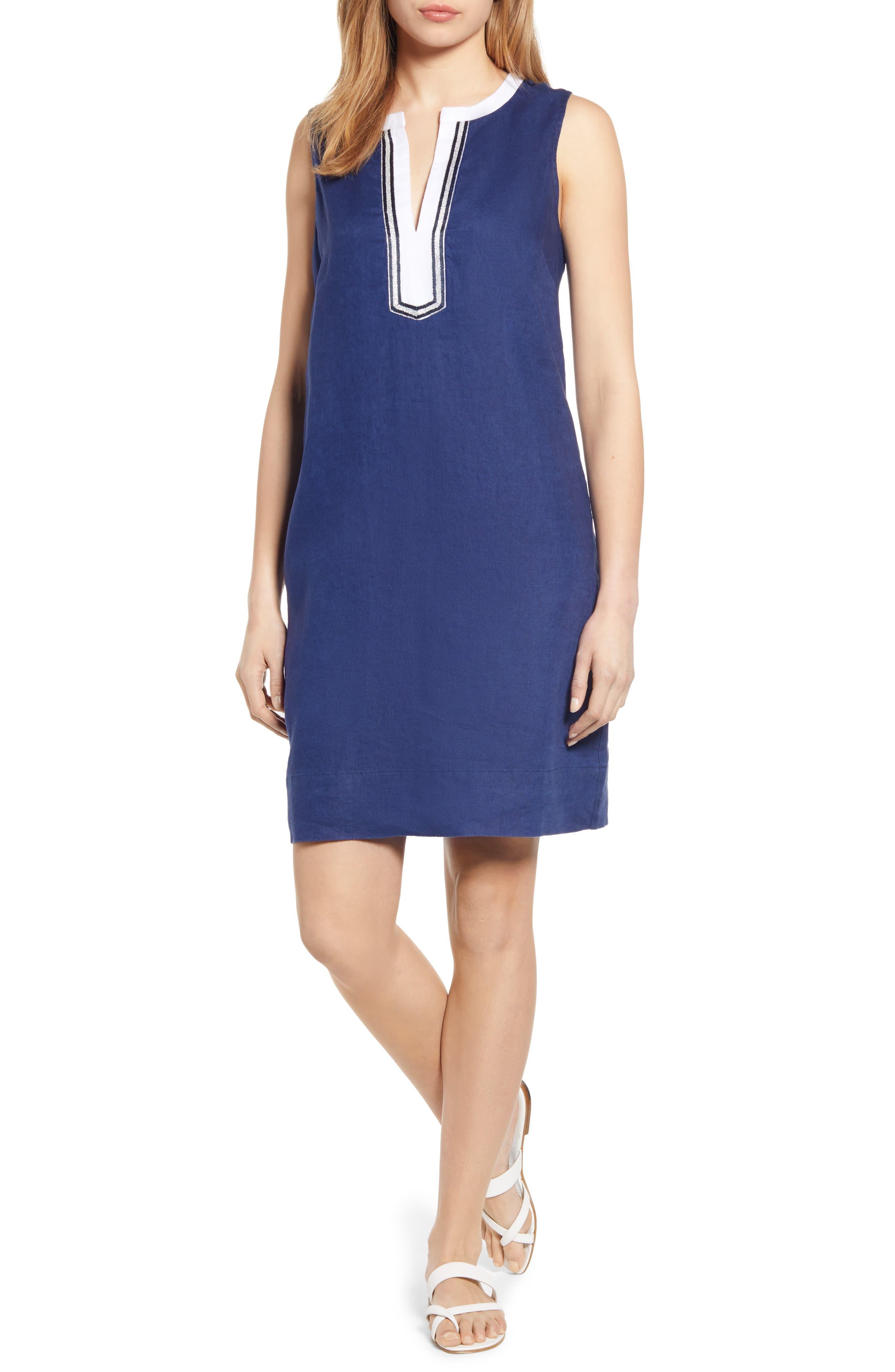 Tommy Bahama Two Palms Split Neck Linen Shift Dress, Blue