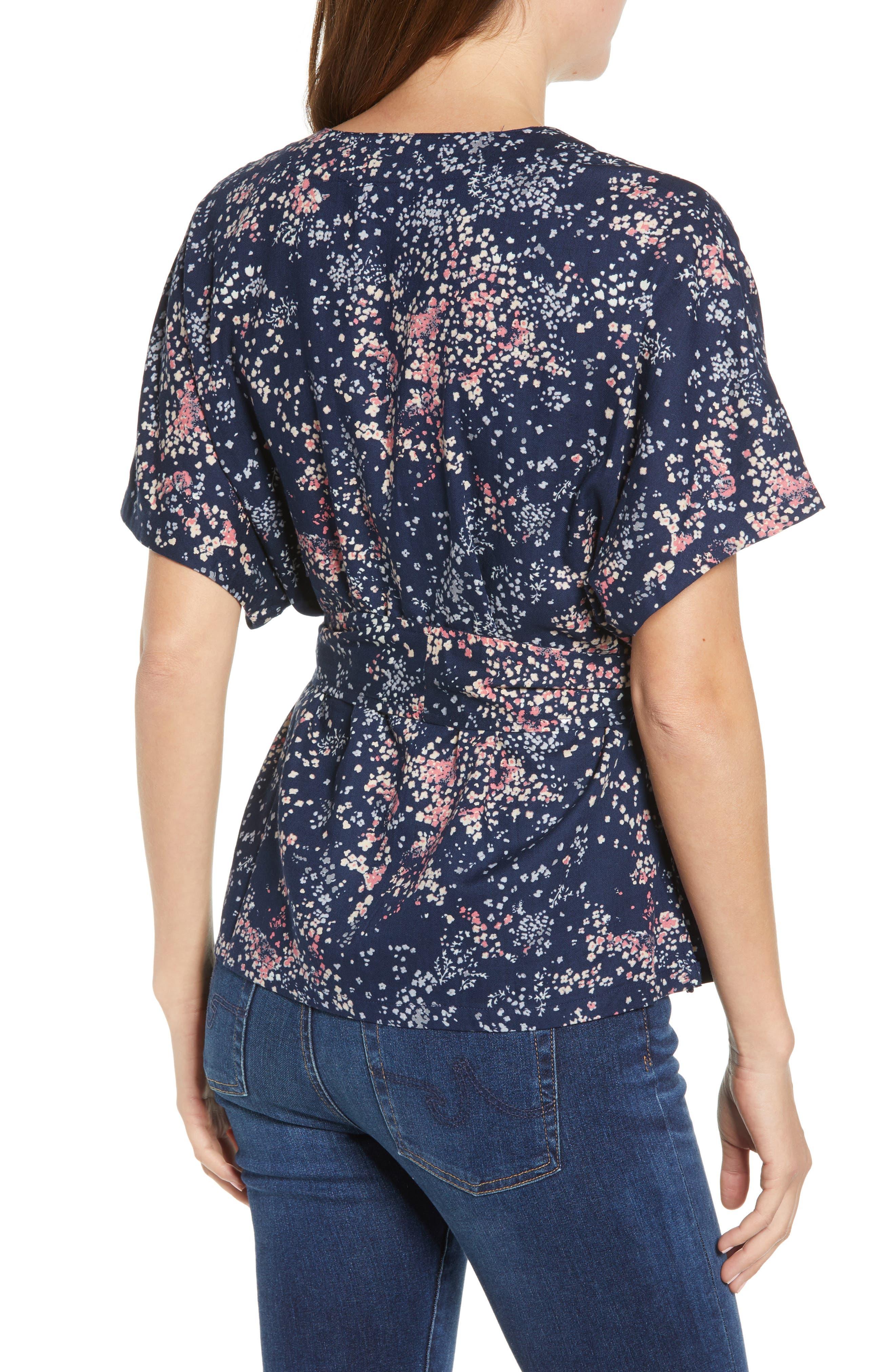 CASLON<SUP>®</SUP>, Button-Up Tie Front Blouse, Alternate thumbnail 2, color, NAVY LITTLE FLOWERS