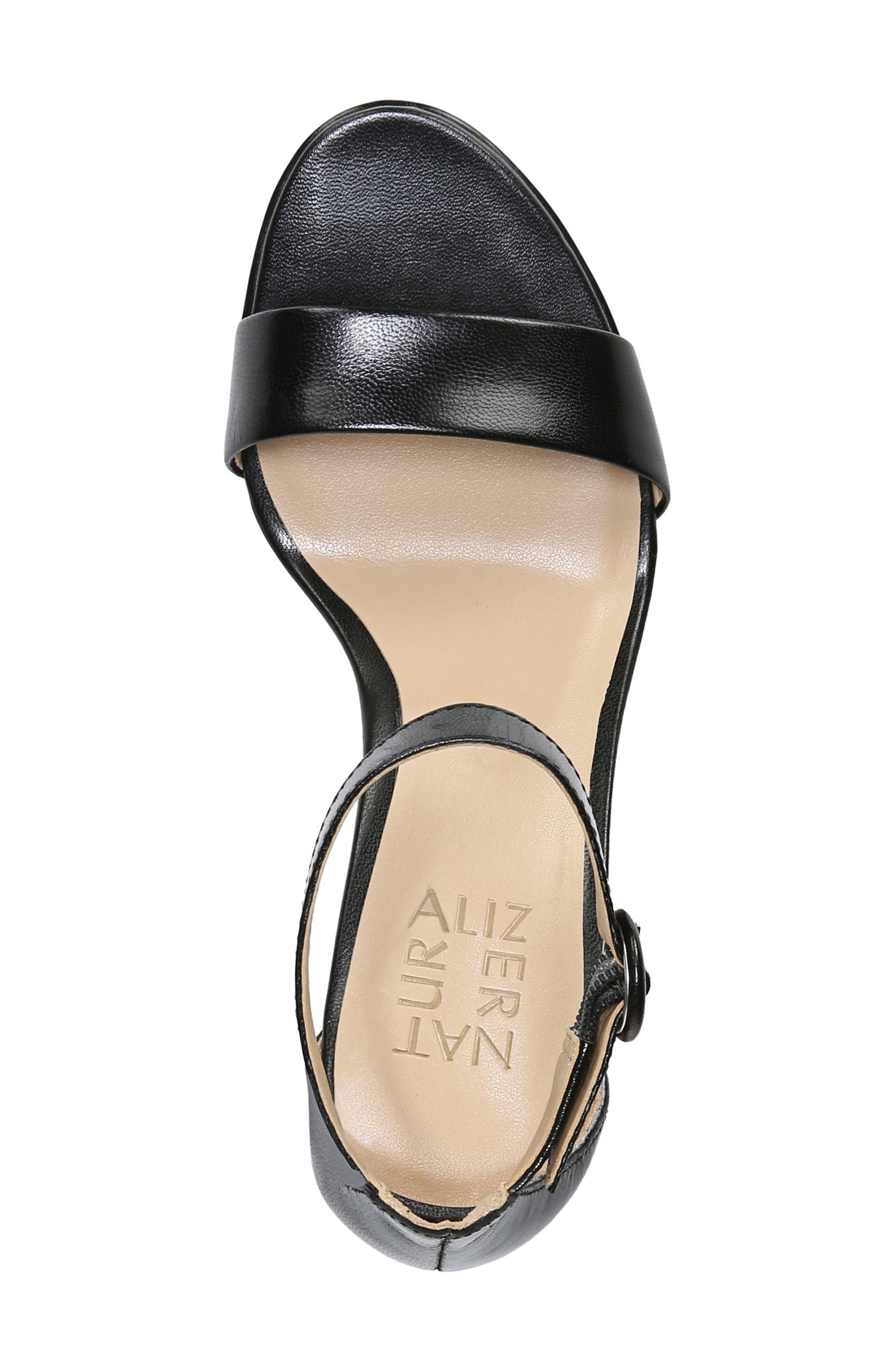 NATURALIZER, Kinsley Ankle Strap Sandal, Alternate thumbnail 5, color, BLACK LEATHER