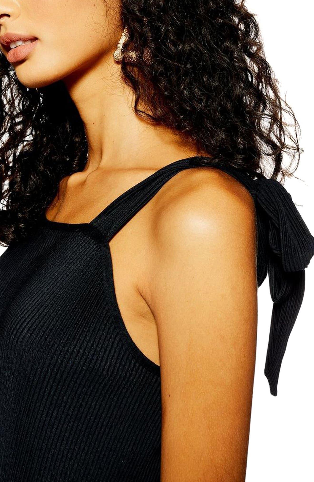 TOPSHOP, Tie Shoulder Crop Jumpsuit, Alternate thumbnail 4, color, BLACK