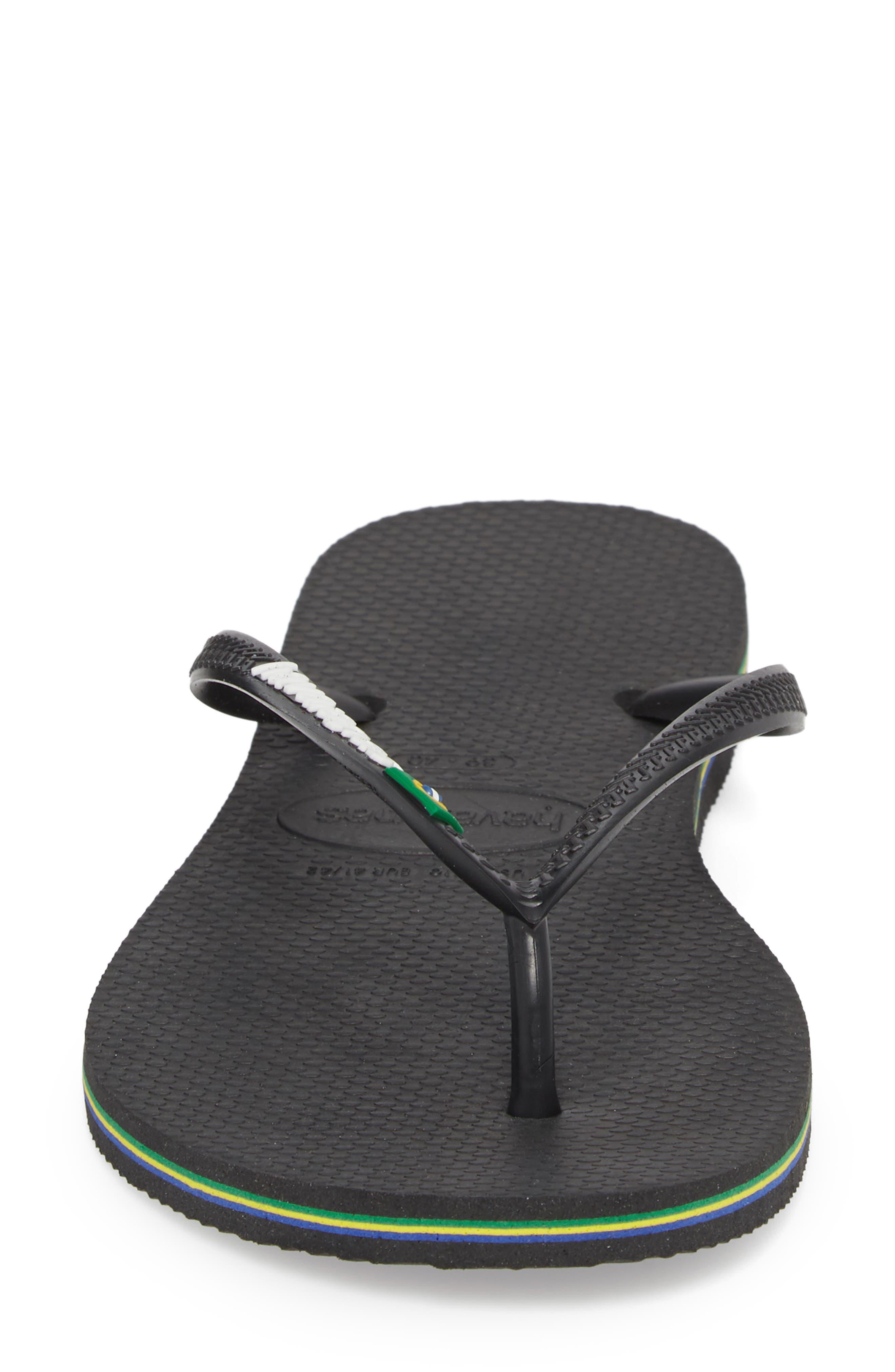 HAVAIANAS, Slim Brazil Flip Flop, Alternate thumbnail 5, color, BLACK