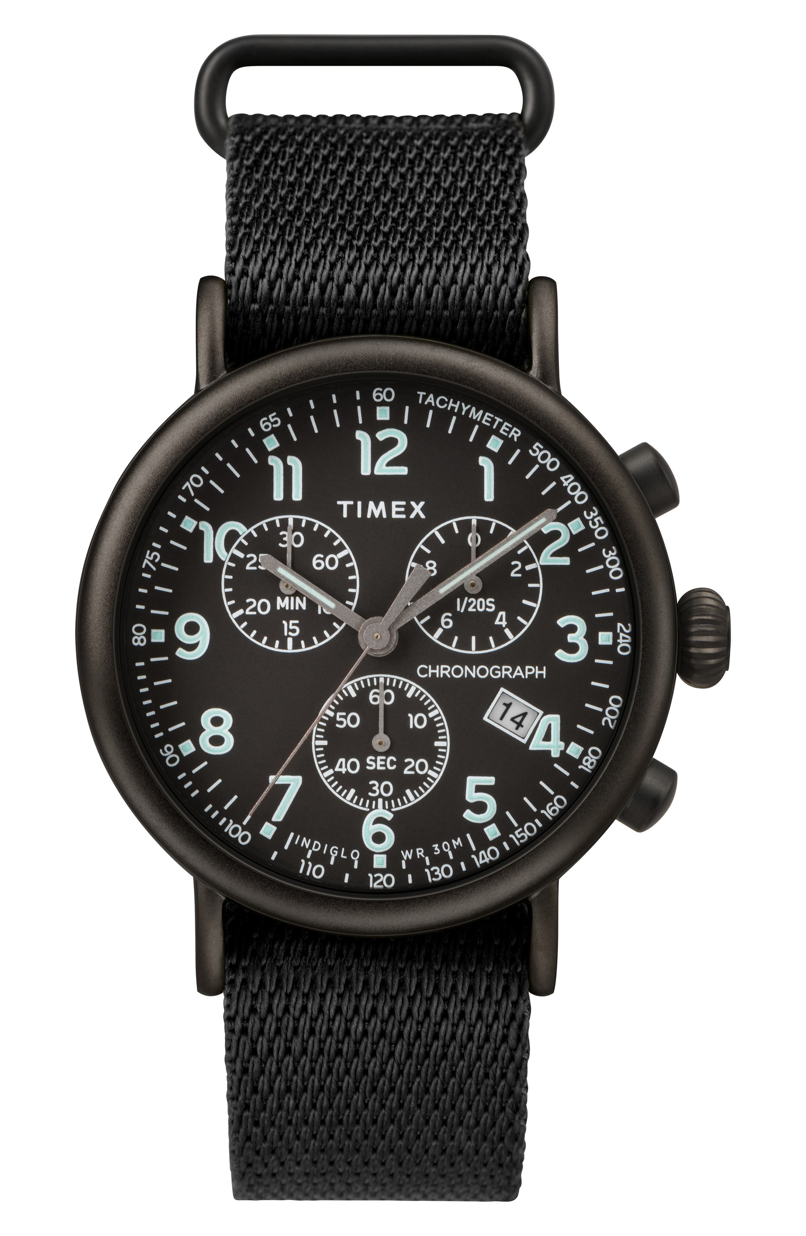 TIMEX<SUP>®</SUP>, Standard Chronograph Textile Strap Watch, 41mm, Main thumbnail 1, color, 001