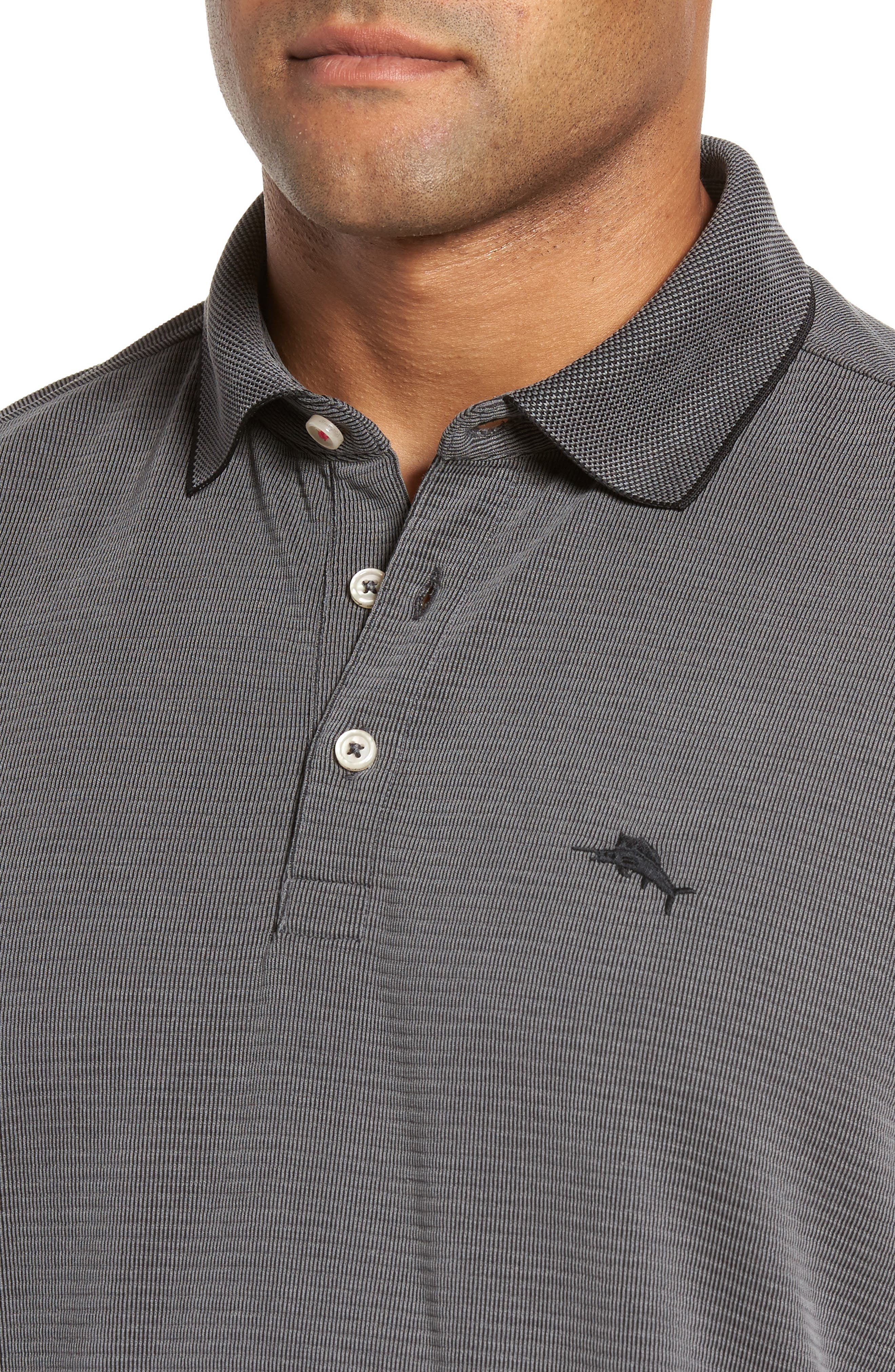 TOMMY BAHAMA, Coastal Crest Polo, Alternate thumbnail 4, color, BLACK