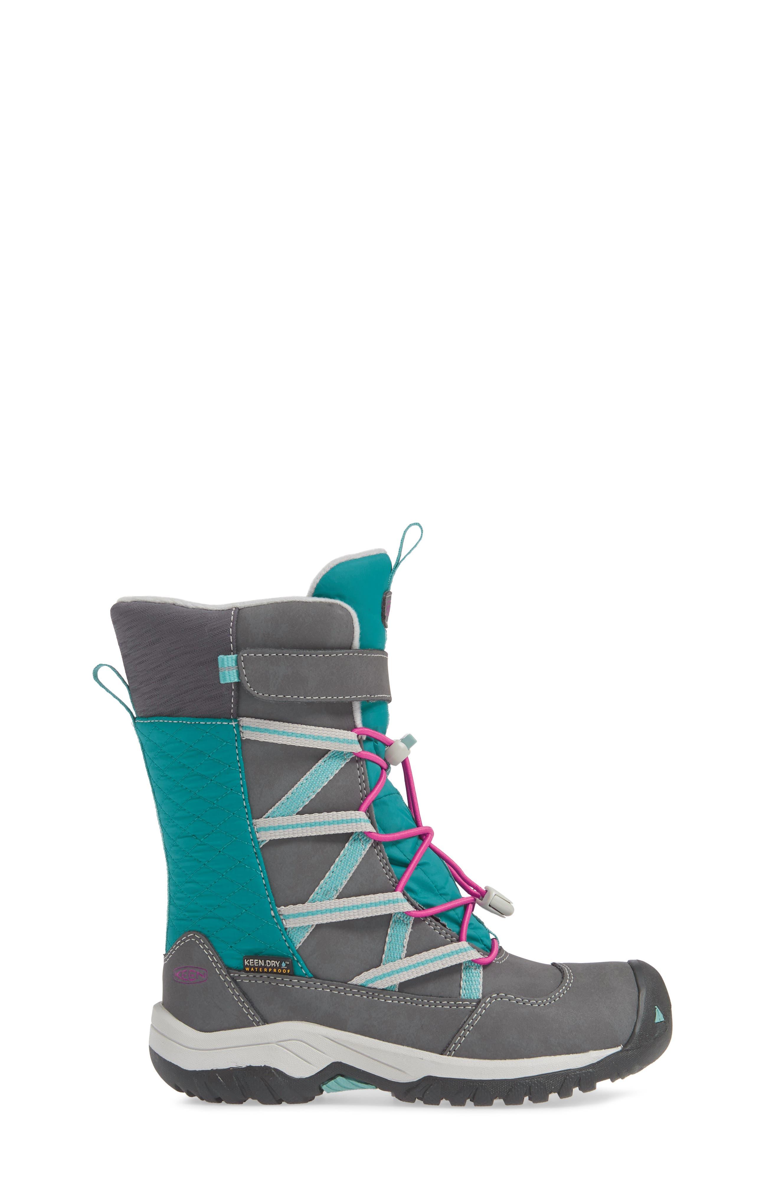 KEEN, Hoodoo Waterproof Insulated Boot, Alternate thumbnail 3, color, STEEL GREY/ CABARET