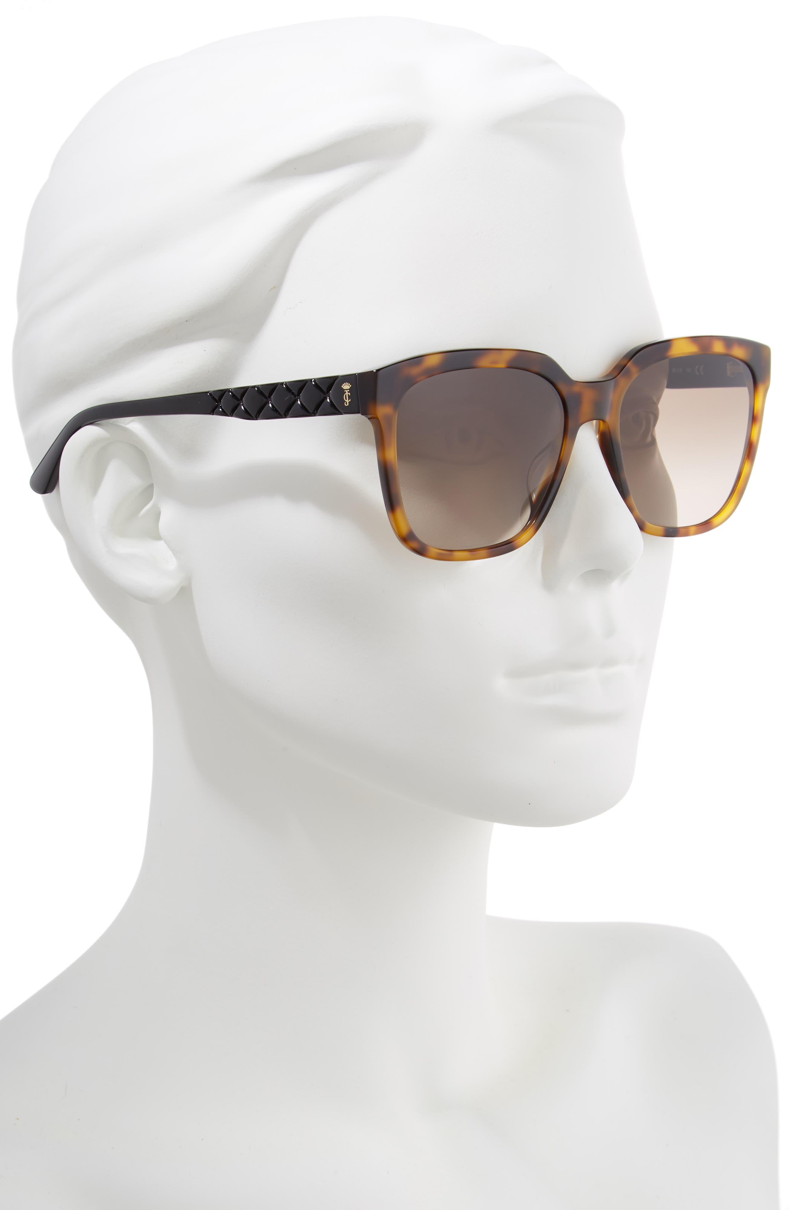 JUICY COUTURE, Core 55mm Square Sunglasses, Alternate thumbnail 2, color, BLACK