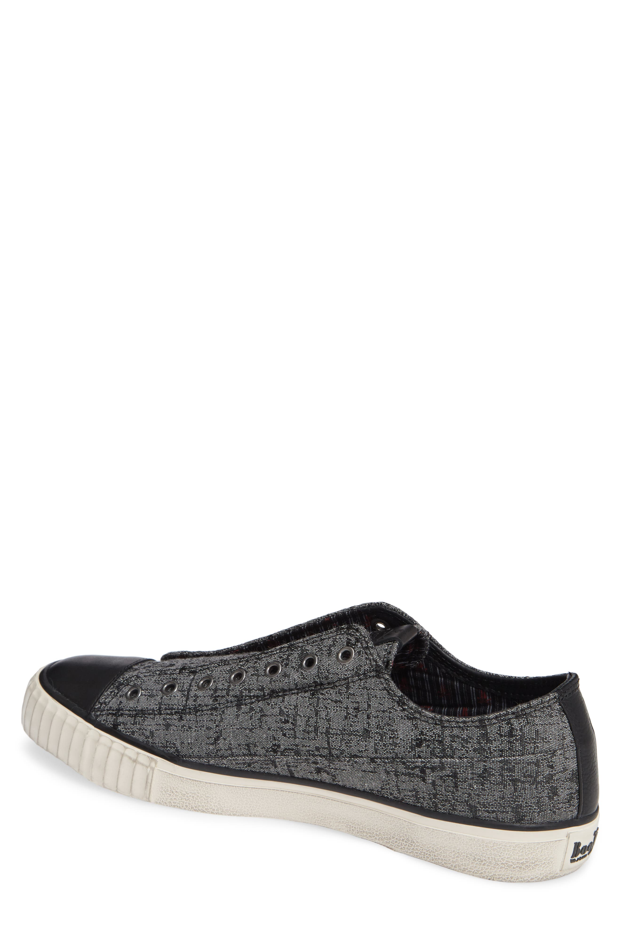 BOOTLEG BY JOHN VARVATOS, John Varvatos Star USA Bootleg Laceless Sneaker, Alternate thumbnail 2, color, STONE GREY CANVAS