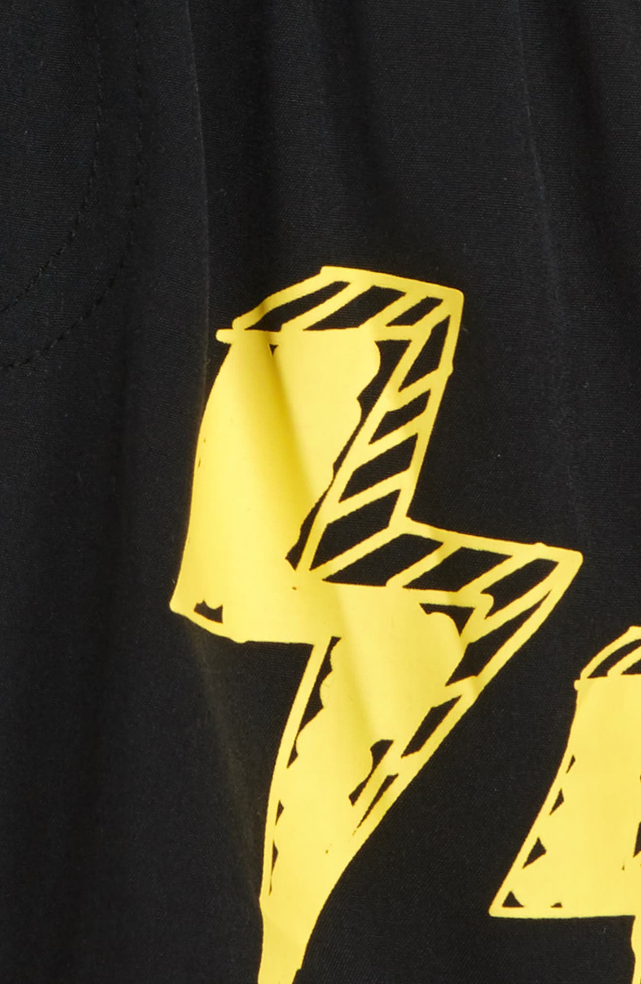 TINY TRIBE, Lightning Board Shorts, Alternate thumbnail 2, color, BLACK