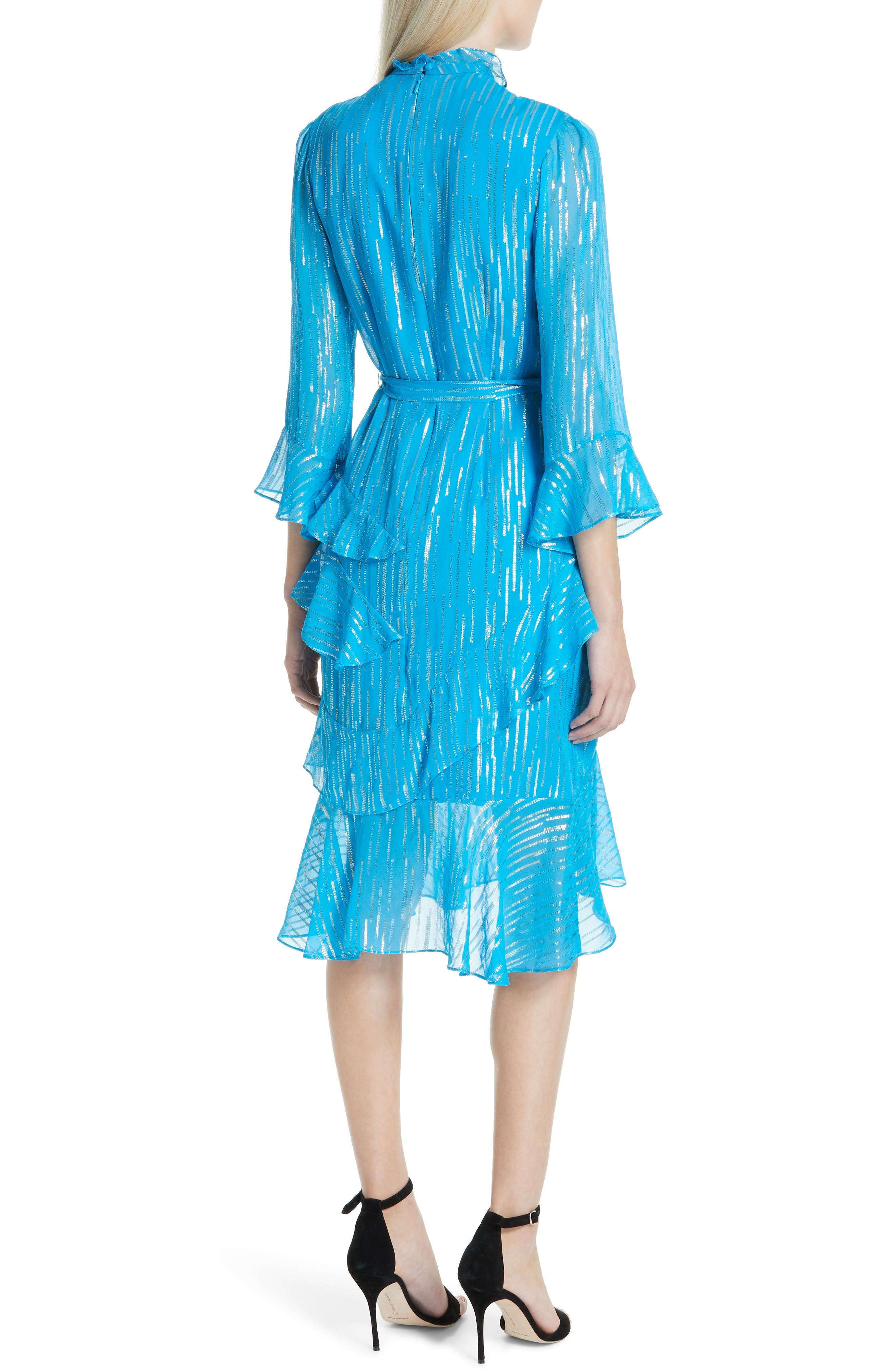 SALONI, Marissa Metallic Ruffle Dress, Alternate thumbnail 2, color, TURQUOISE/ METALLIC