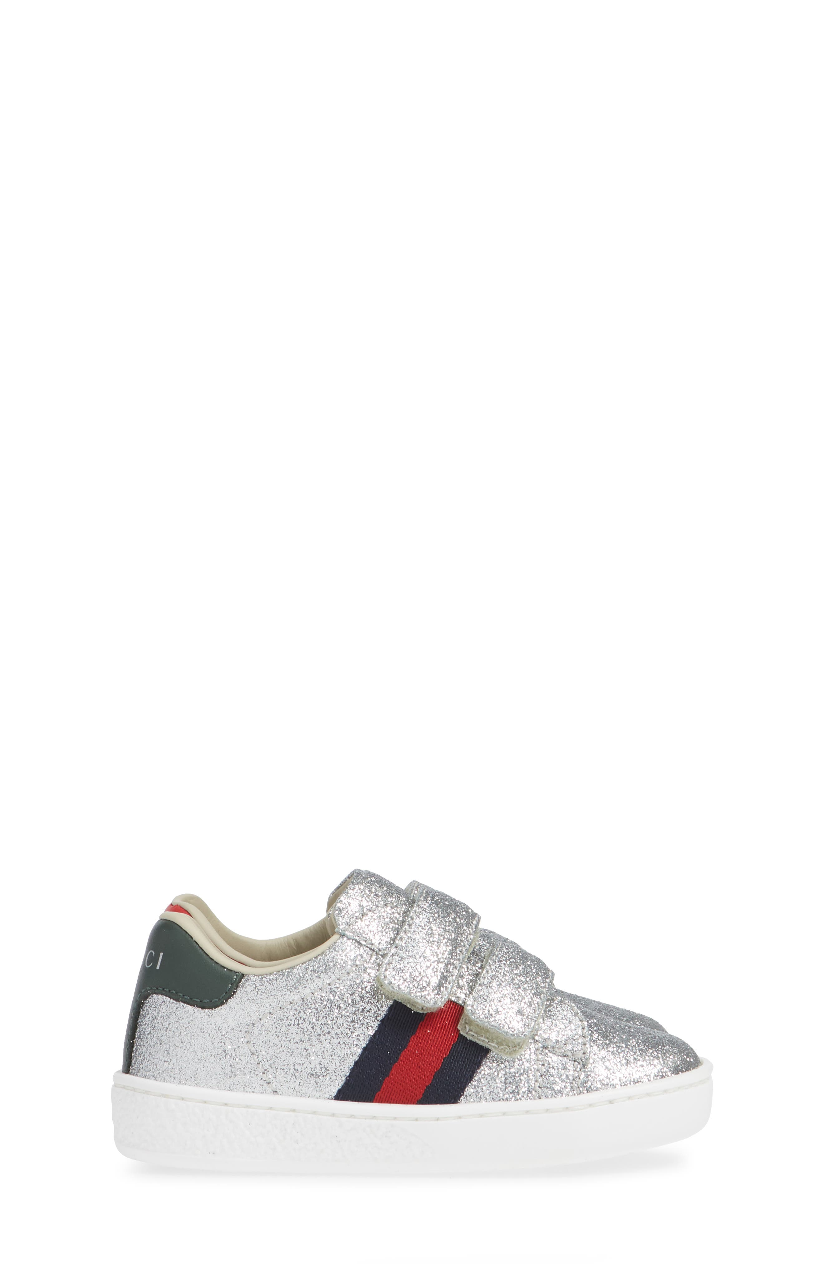GUCCI, New Ace Sneaker, Alternate thumbnail 4, color, METALLIC SILVER