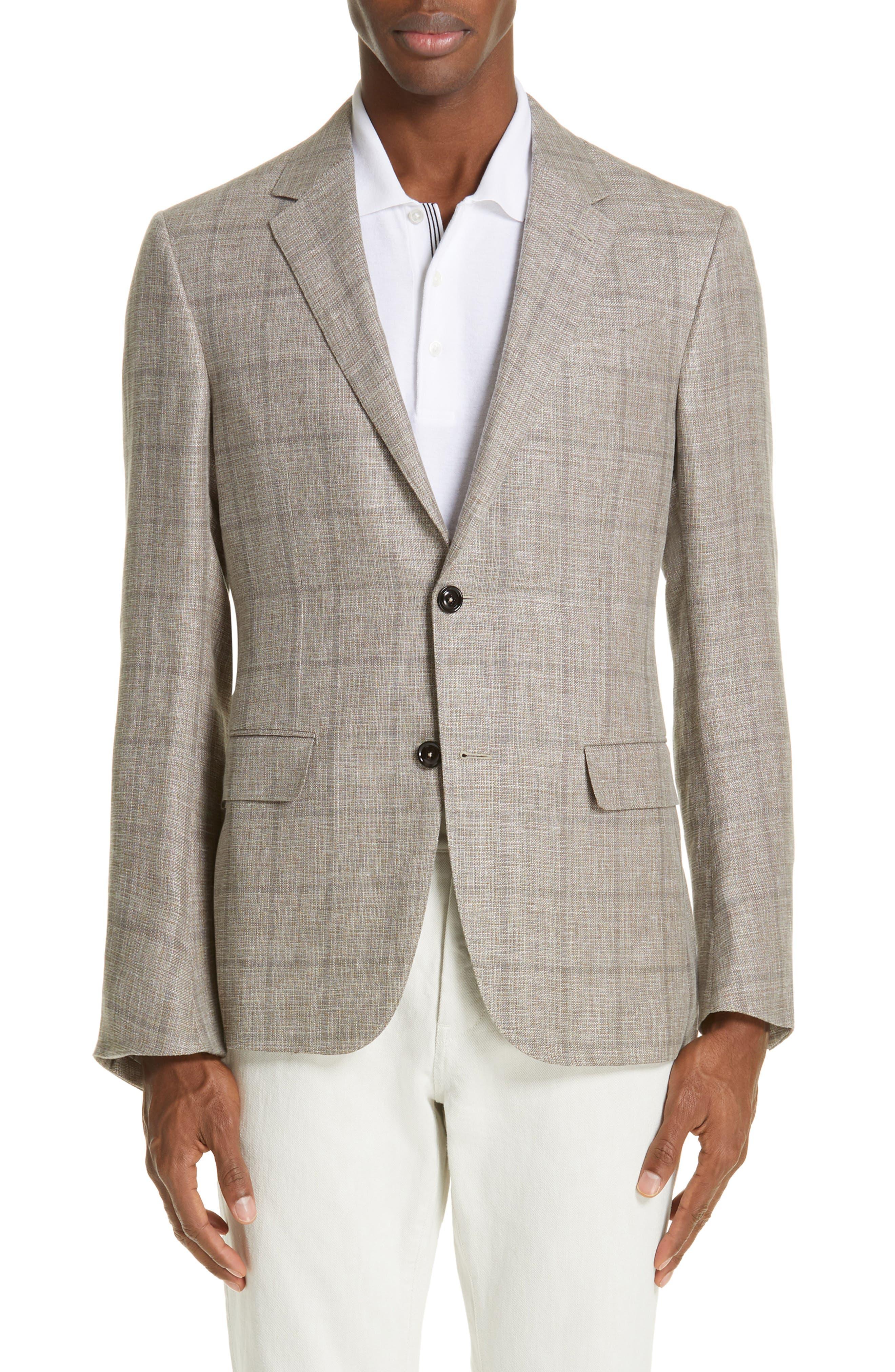 ERMENEGILDO ZEGNA, Milano Classic Fit Windowpane Linen Blend Sport Coat, Main thumbnail 1, color, TAN