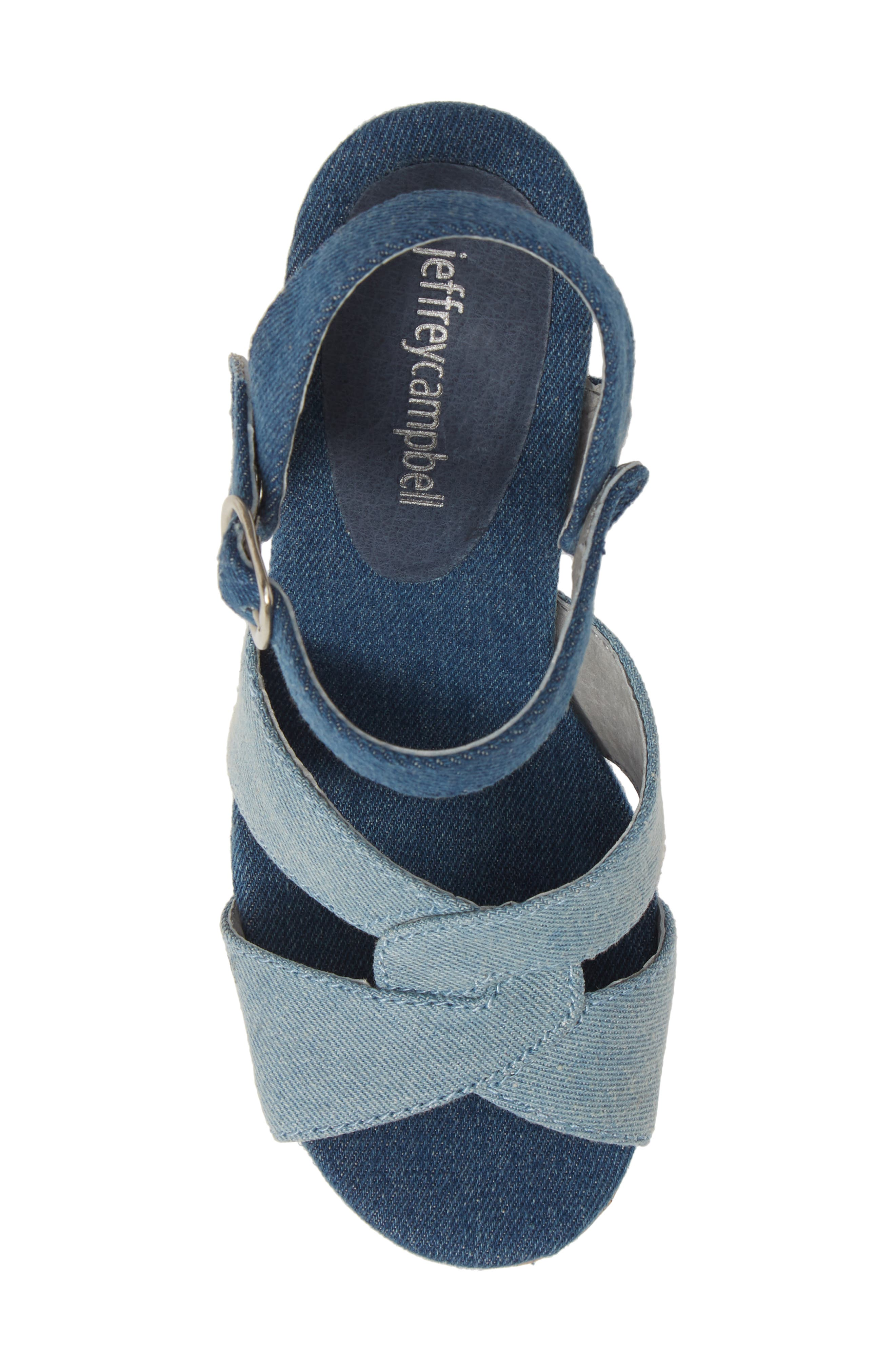 JEFFREY CAMPBELL, Wedge Platform Sandal, Alternate thumbnail 5, color, BLUE DENIM COMBO/ CORK